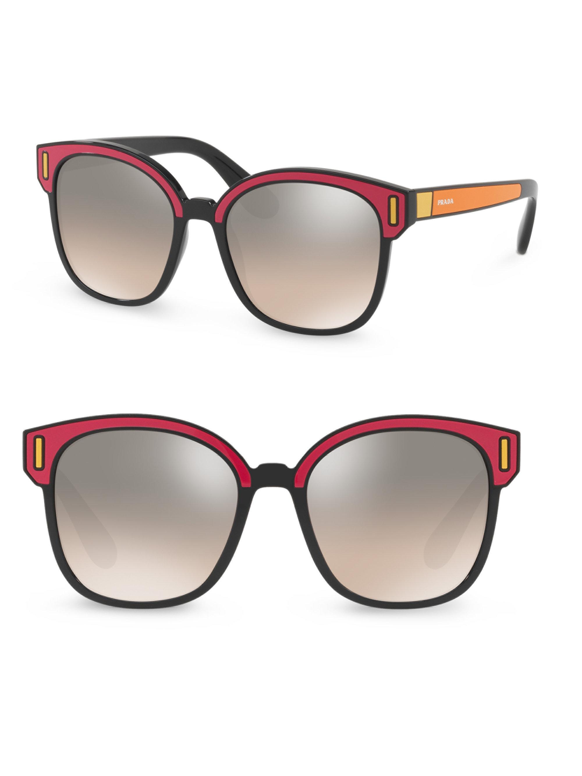 71d35deeb8 Lyst - Prada Color Pop Mirrored Lens Sunglasses in Brown