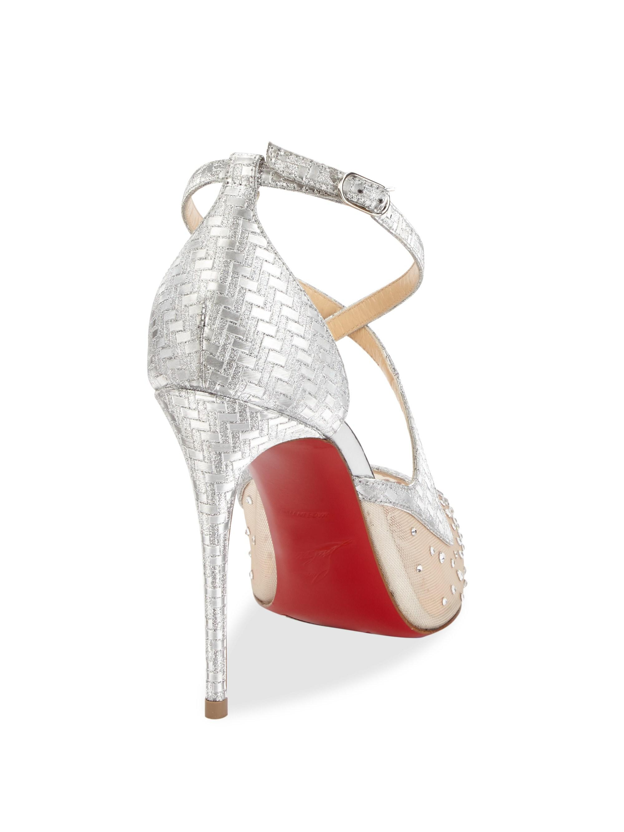 e80f889690e6 Lyst - Christian Louboutin Twistissima Strass 100 Metallic Leather ...