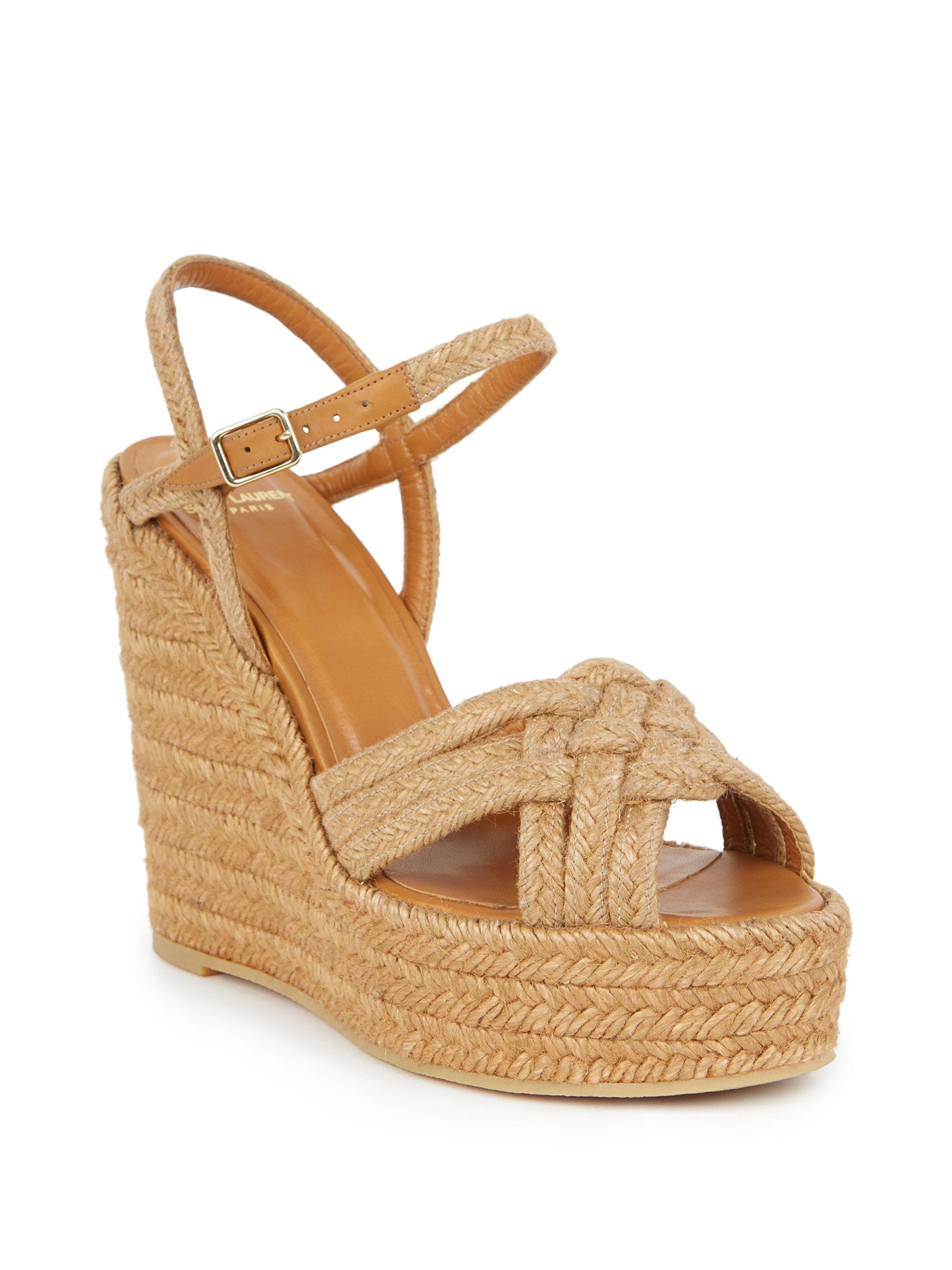 9092c7234b4 Lyst - Saint Laurent Woven Espadrille Wedge Sandals in Brown