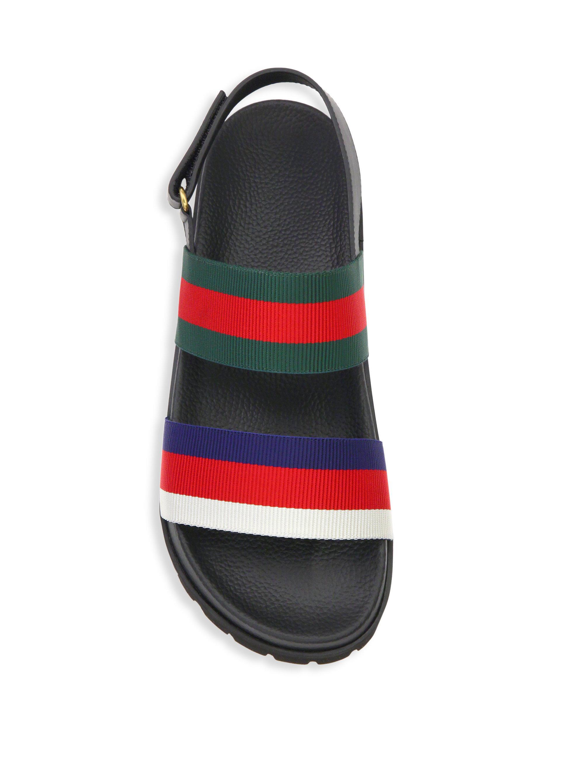 bd2b82fac7917f Gucci - Multicolor Rimini Leather Double Strap Sandals - Lyst