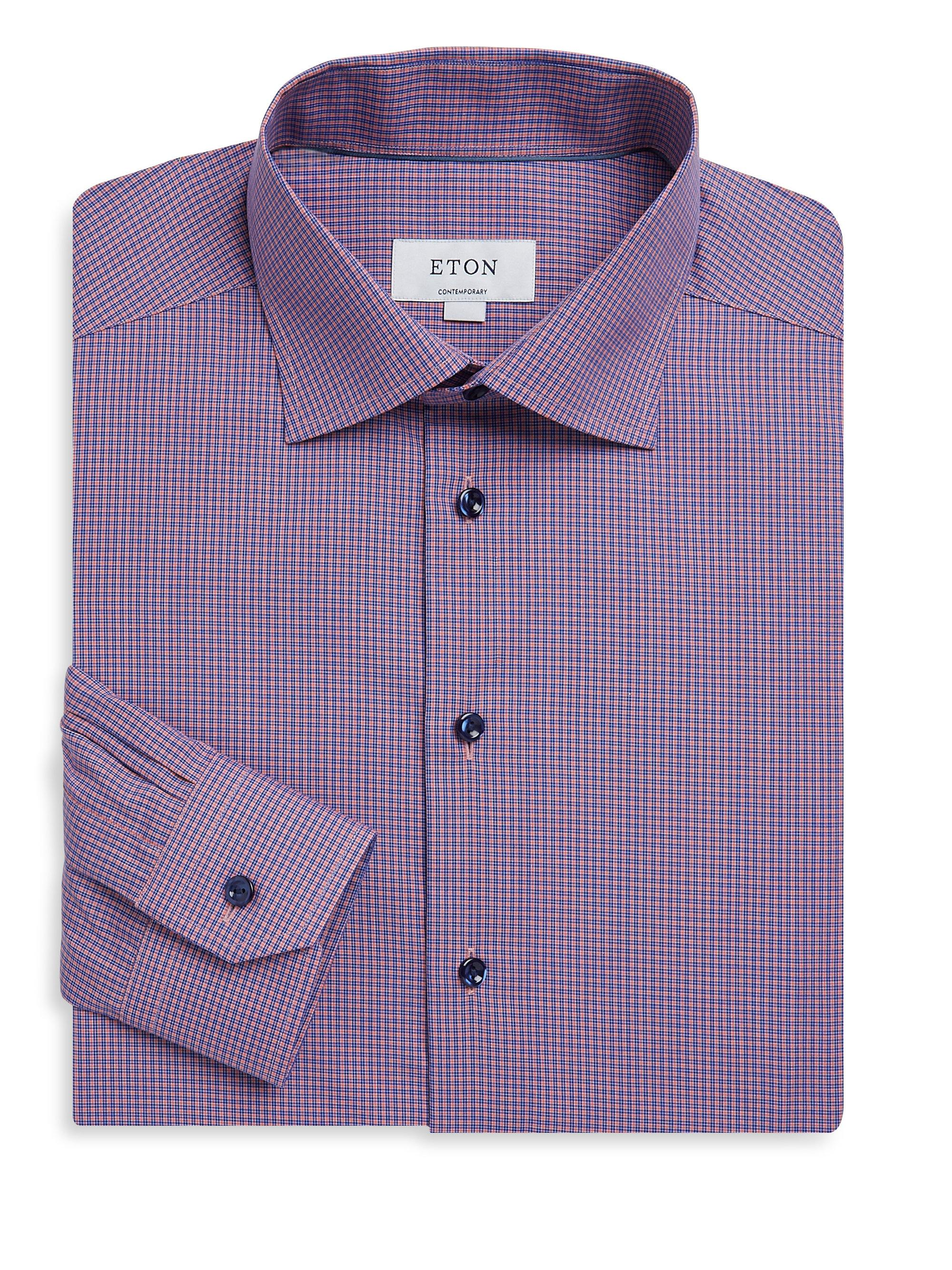 Eton Of Sweden Contemporary Fit Plaid Dress Shirt In