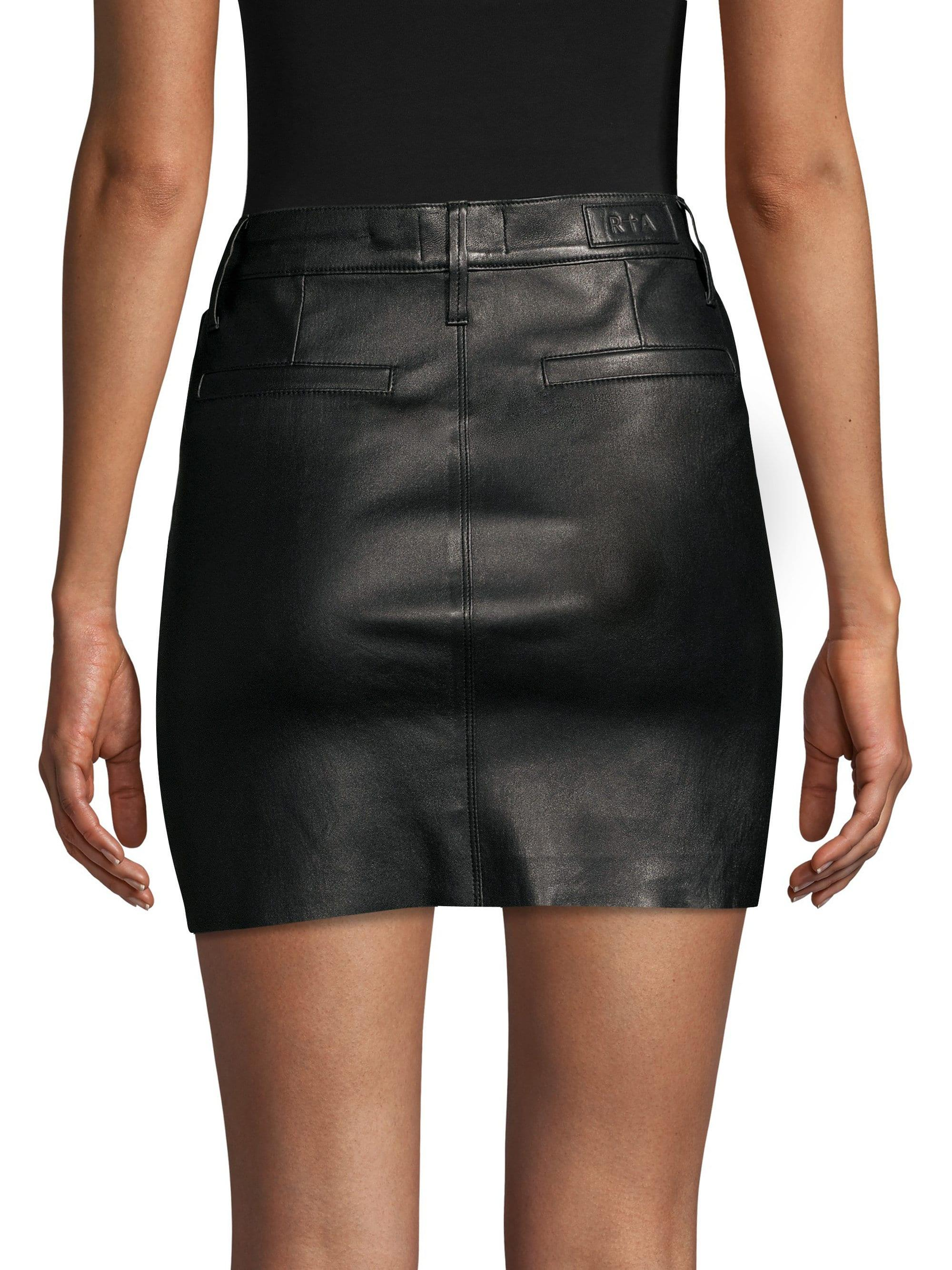 939646e1a6c9 Lyst - RTA Marlin Leather Mini Skirt in Black