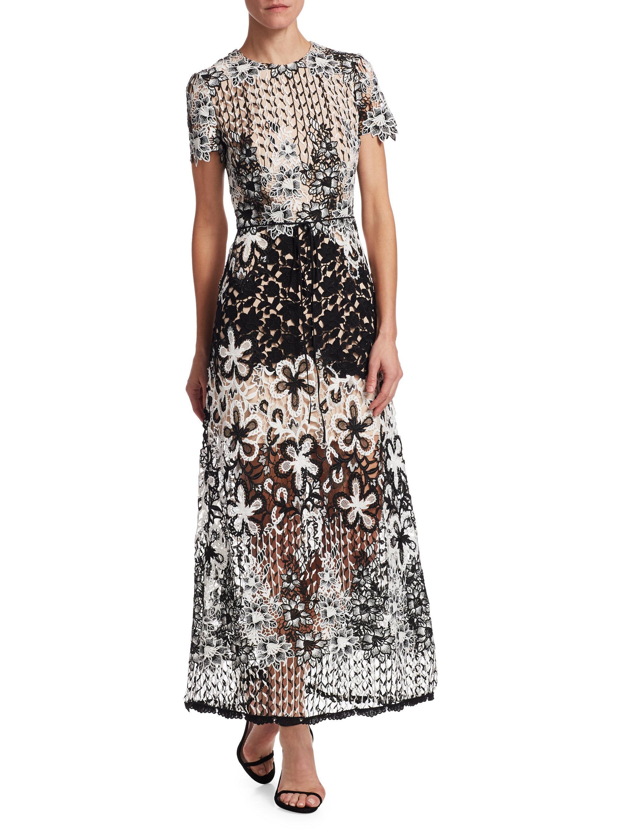 floral overlay dress - Black Monique Lhuillier N9z4ANE