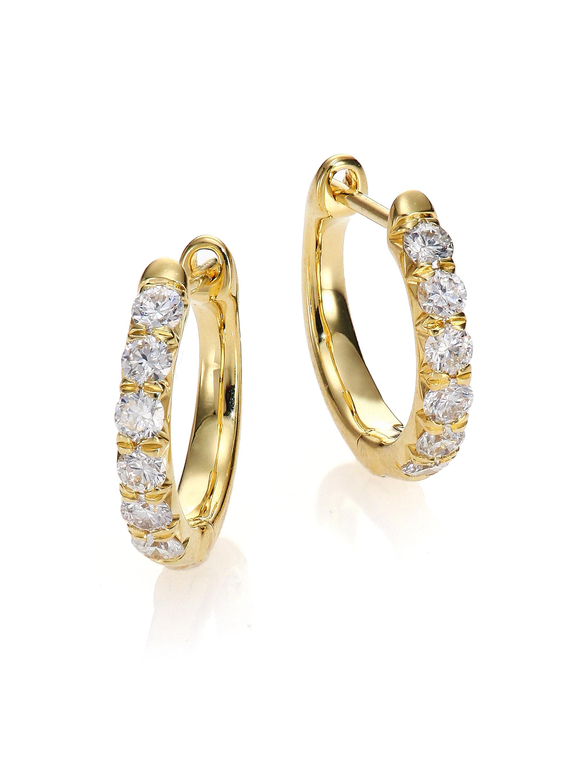 Jude Frances Lisse Small Clover Hoop Earrings with Diamonds uhCavH6p