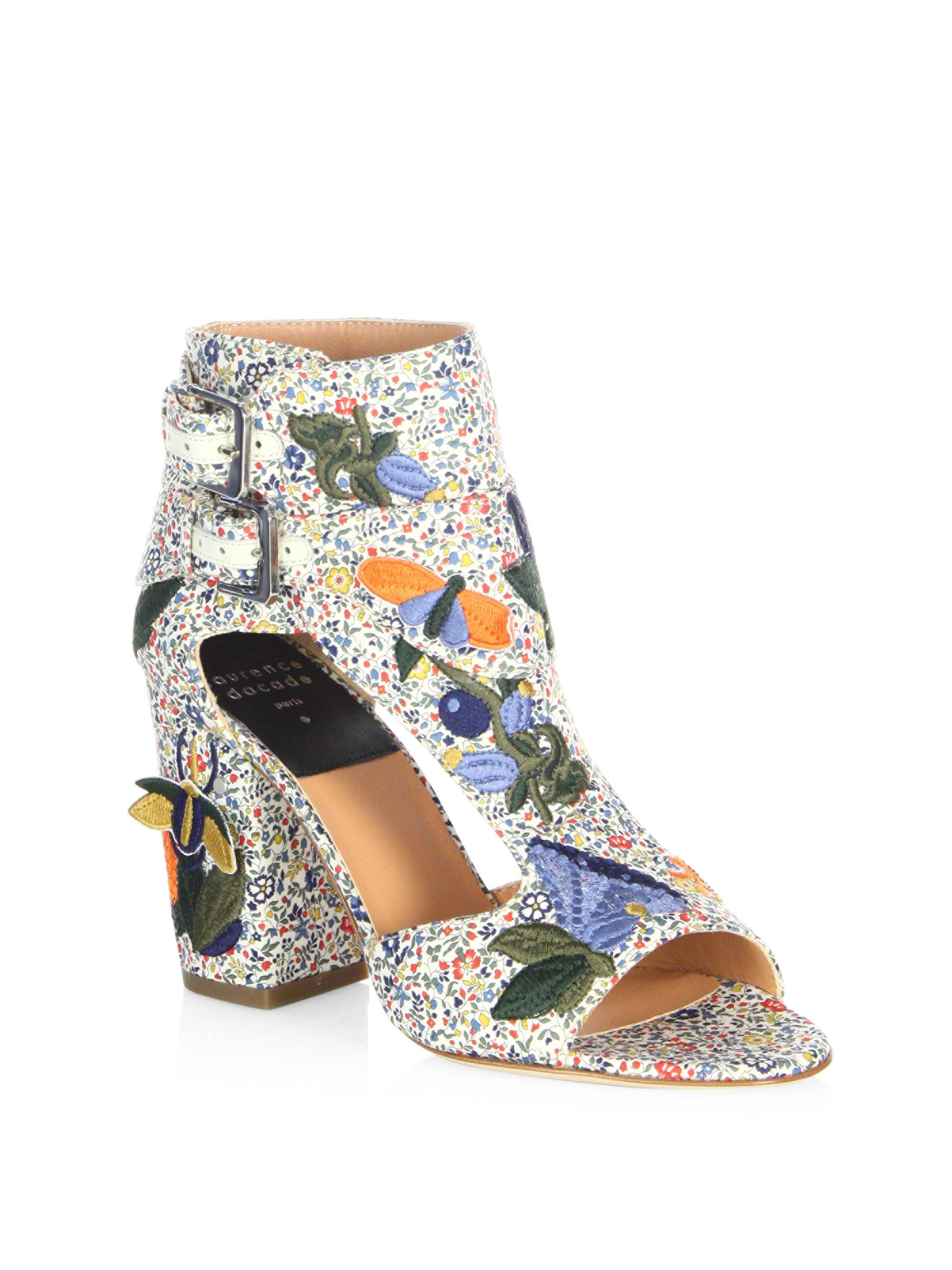 Laurence Dacade Floral-Embroidered Velvet Sandals w/ Tags brand new unisex for sale iwojAXa