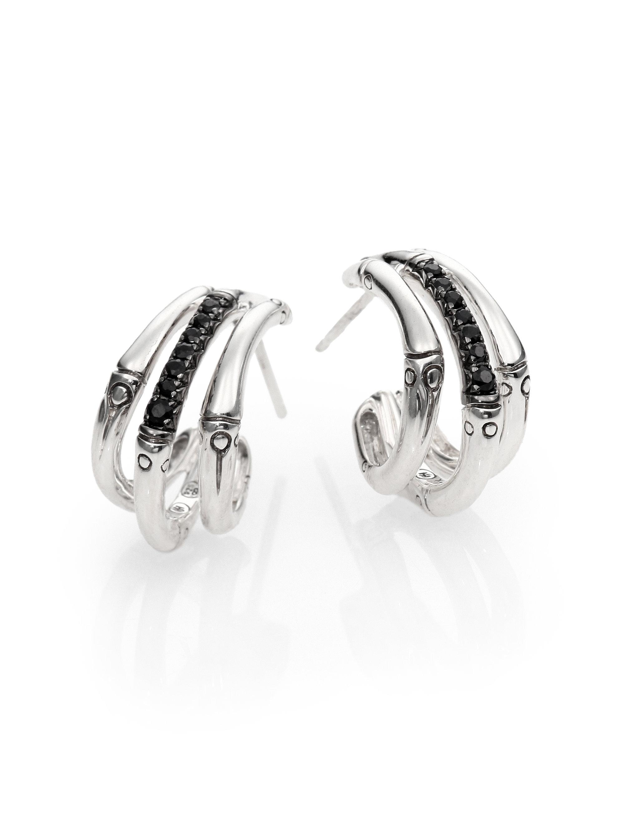 John Hardy Bamboo Silver Lava Large Hoop Earrings, Black Sapphire