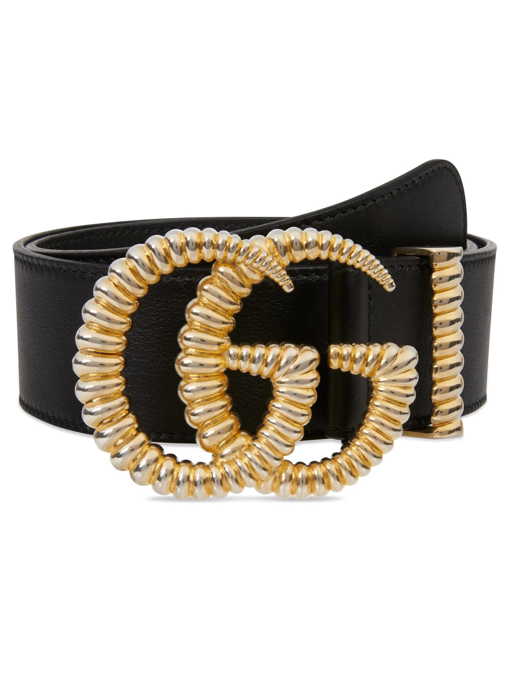 d31674dfee59 Gucci Women's GG Leather Logo Belt - Black in Black - Lyst