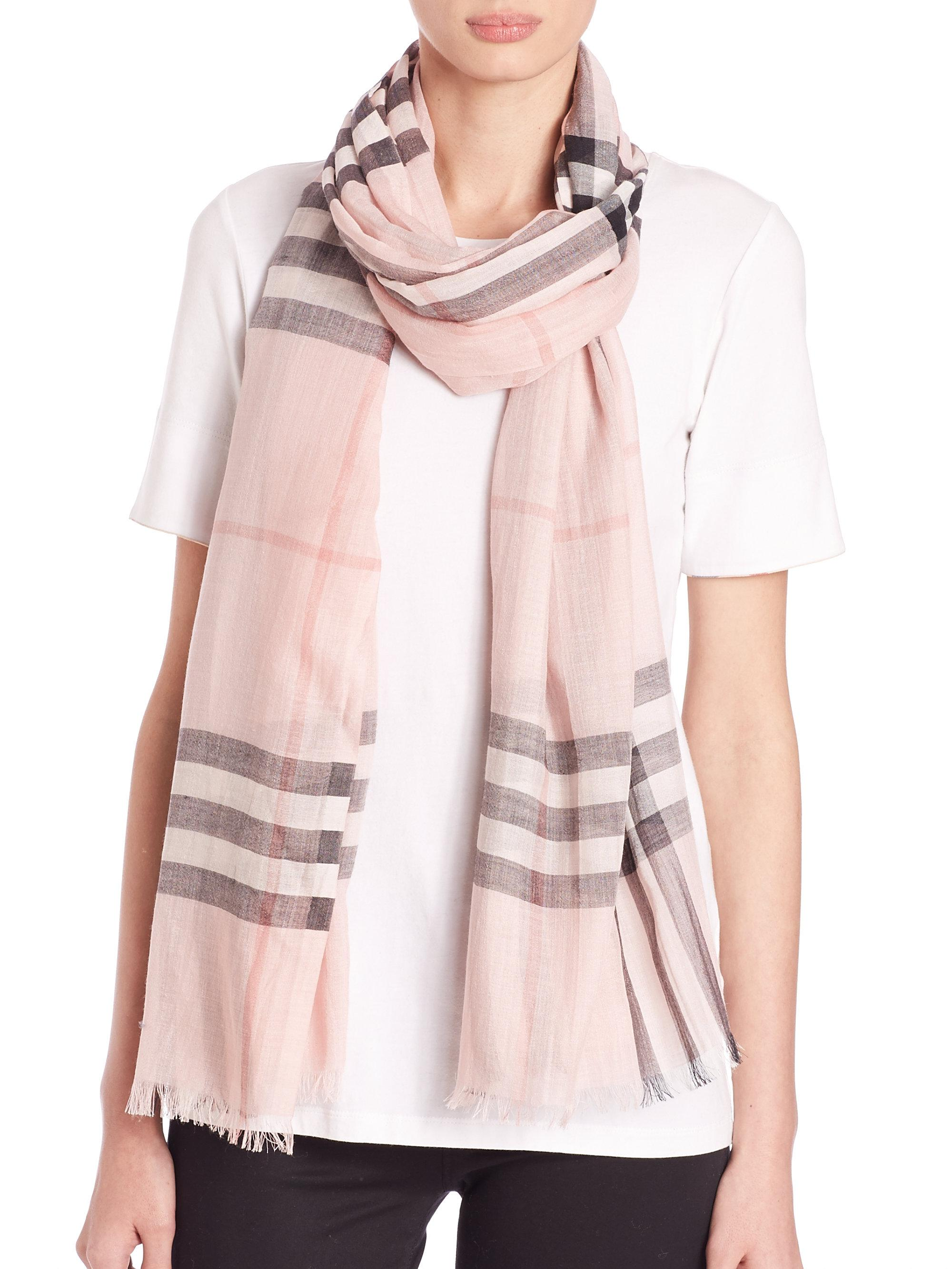 215X70 Metallic Gauze Giant Check Scarf in Ash Rose Wool, Mulberry Silk, Lurex and Viscose Burberry