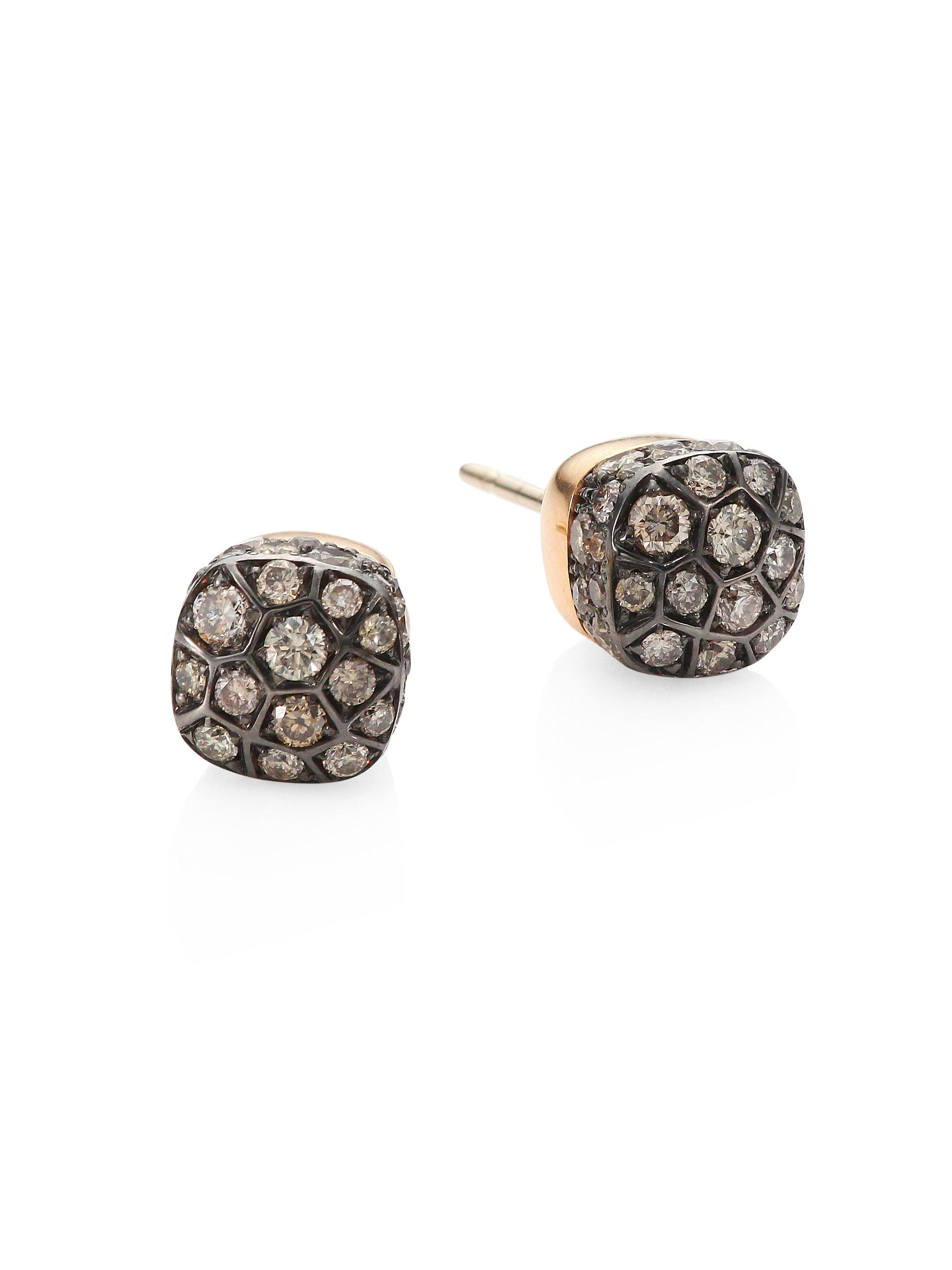 POMELLATO Nudo 18K White & Rose Gold and Diamond Earrings c302OFSx