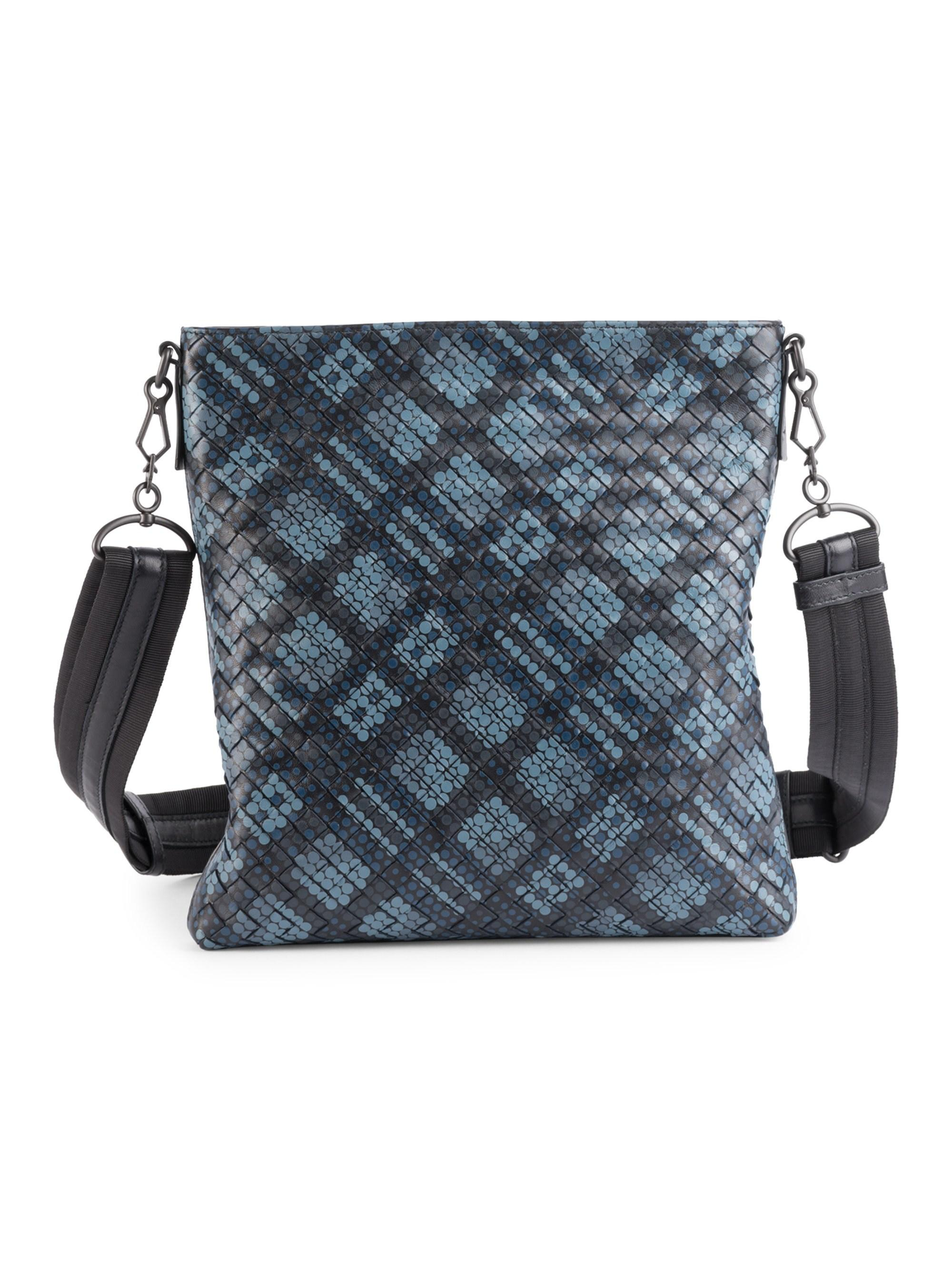 7f5d2f285e Bottega Veneta Men s Dots Woven Leather Crossbody Bag - Blue in Blue ...