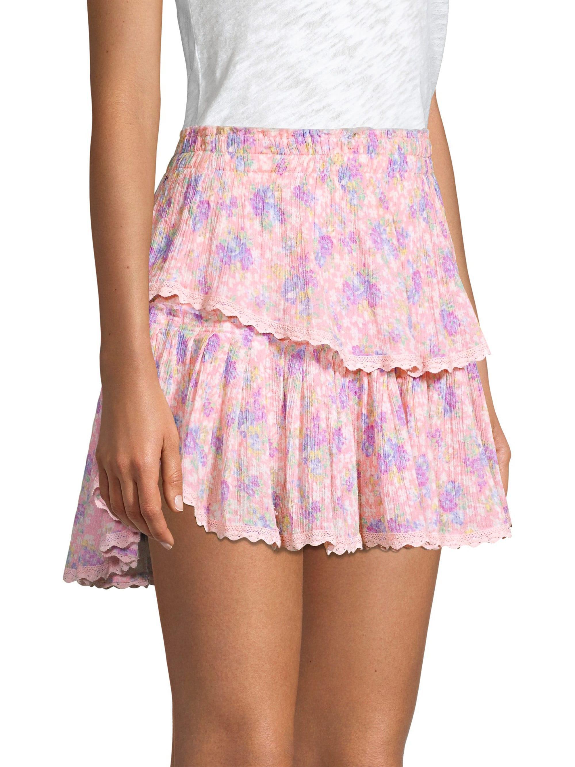 85efd1f86 Lyst - LoveShackFancy Women's Tiered Ruffle Mini Skirt - Pink Garden ...