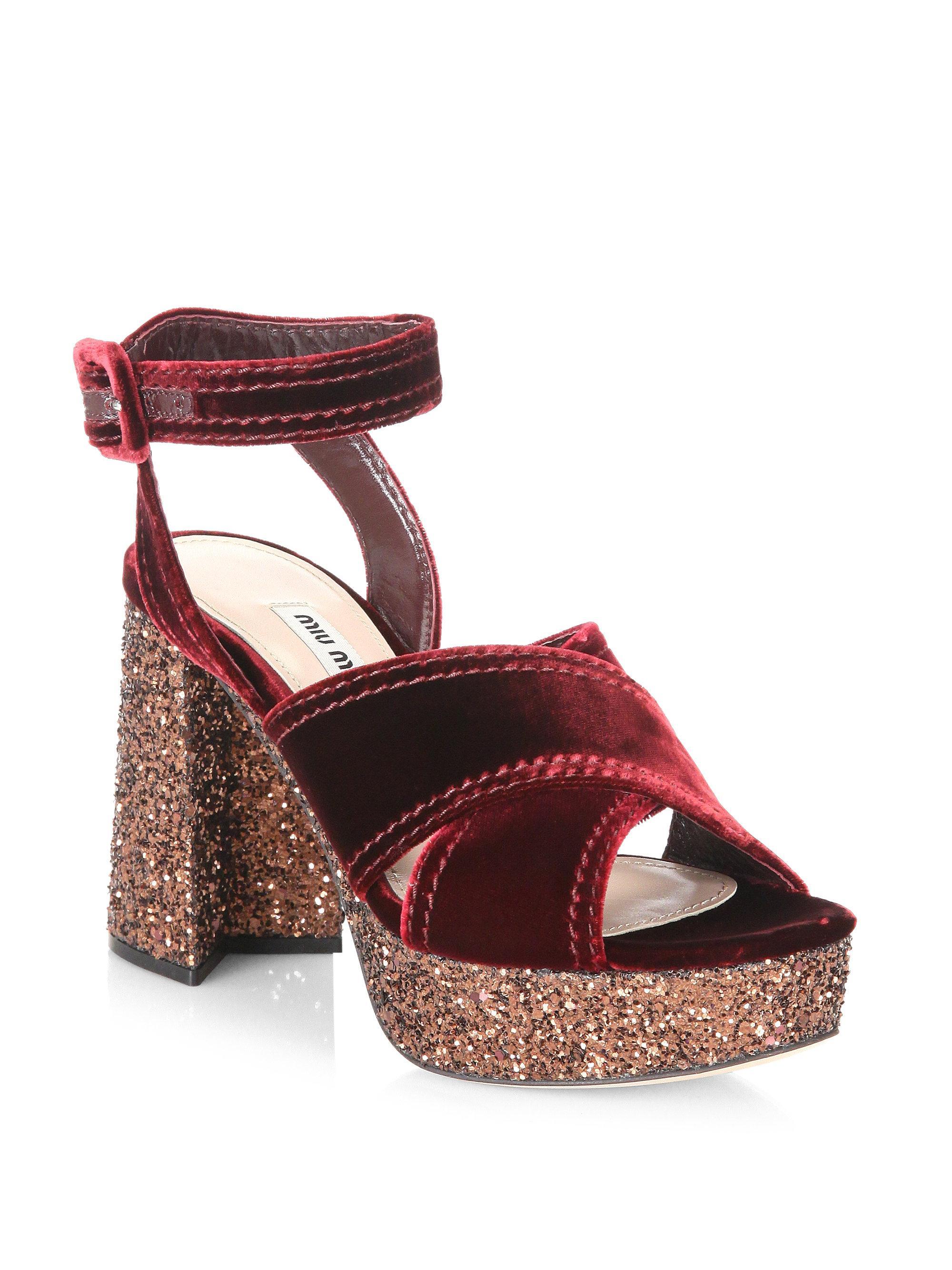 Miu Miu Velvet and glitter plateau sandals TFvwvg4s
