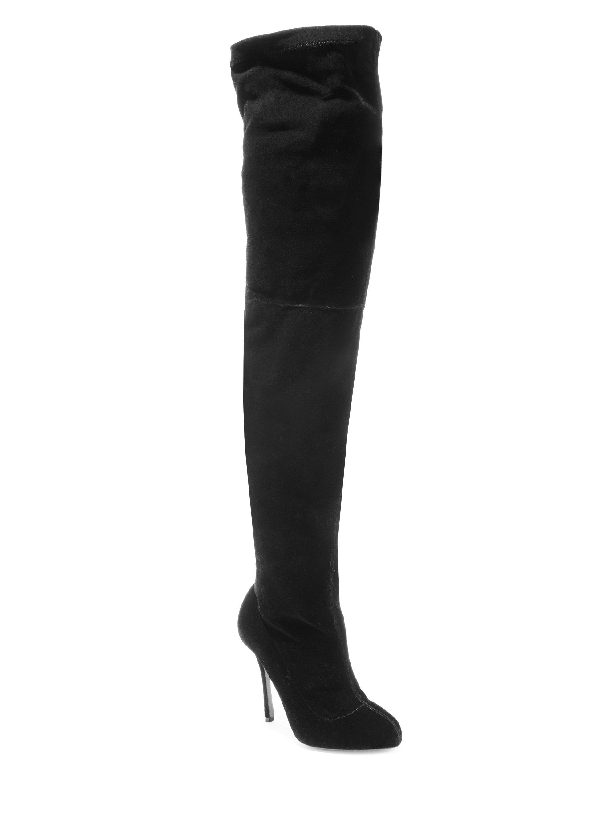 b043a1a3aa2 Christian Louboutin Classe 100 Velvet Thigh-high Boots in Black - Lyst