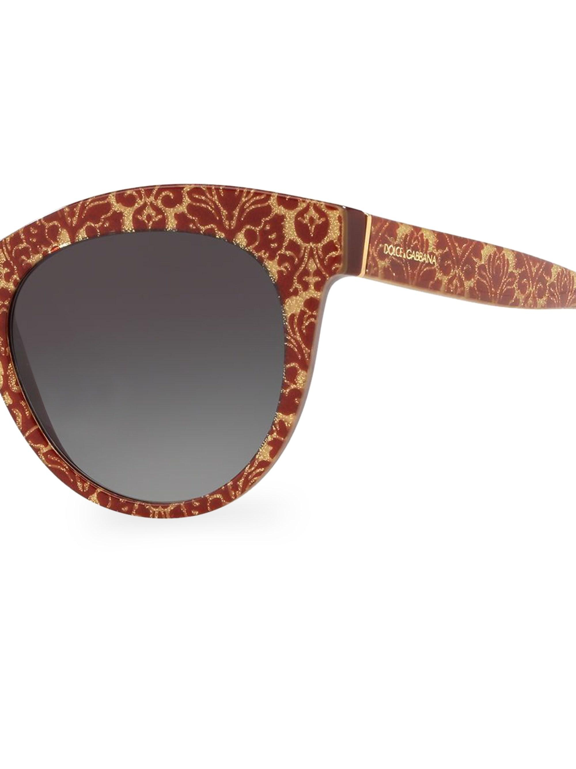 1374de3194e4 Dolce   Gabbana - Metallic Dg4311 Glitter Floral 51mm Cat Eye Sunglasses -  Lyst. View fullscreen