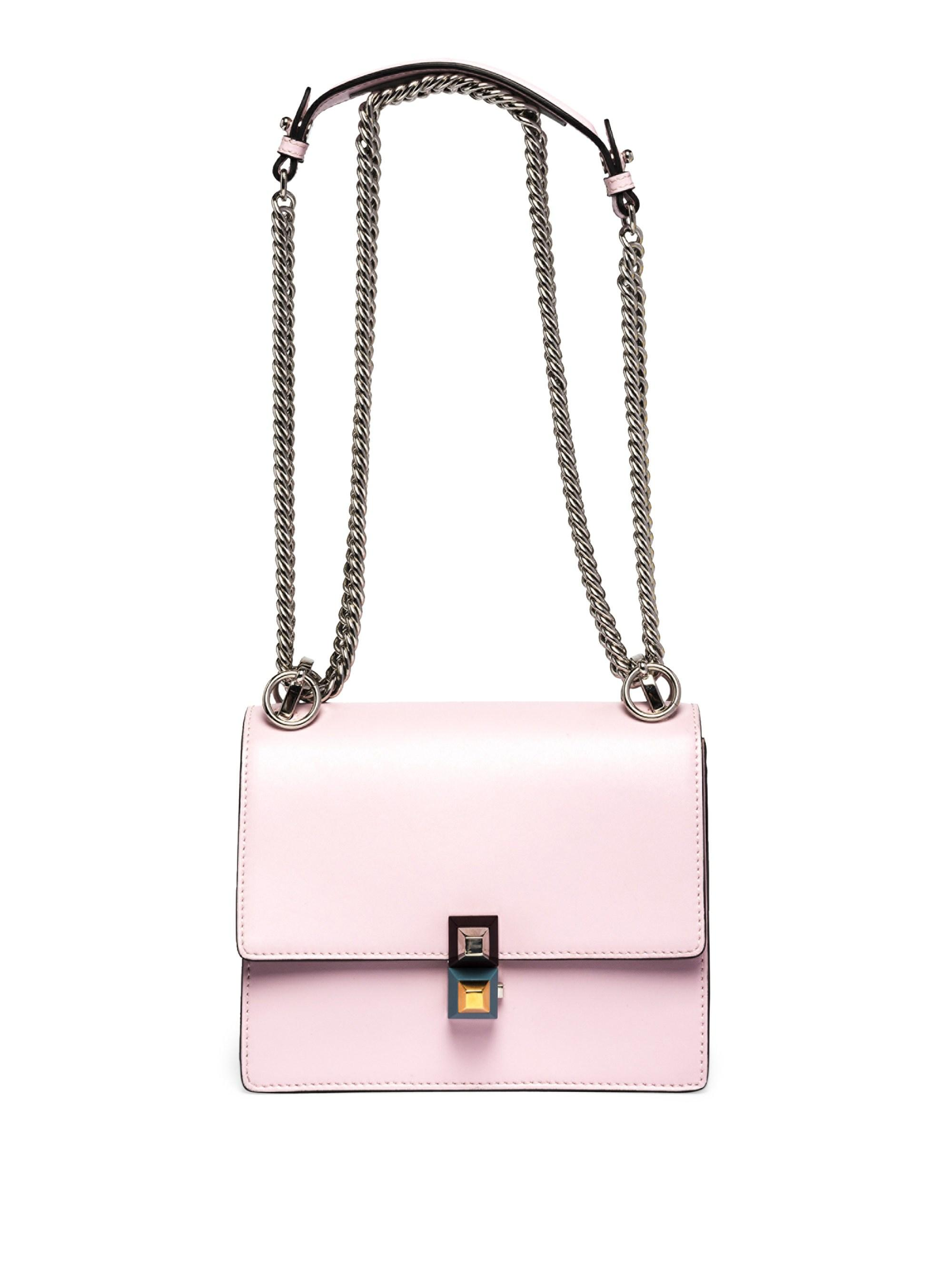 d4fa163346 Lyst - Fendi Kan I Leather Crossbody Bag in Pink
