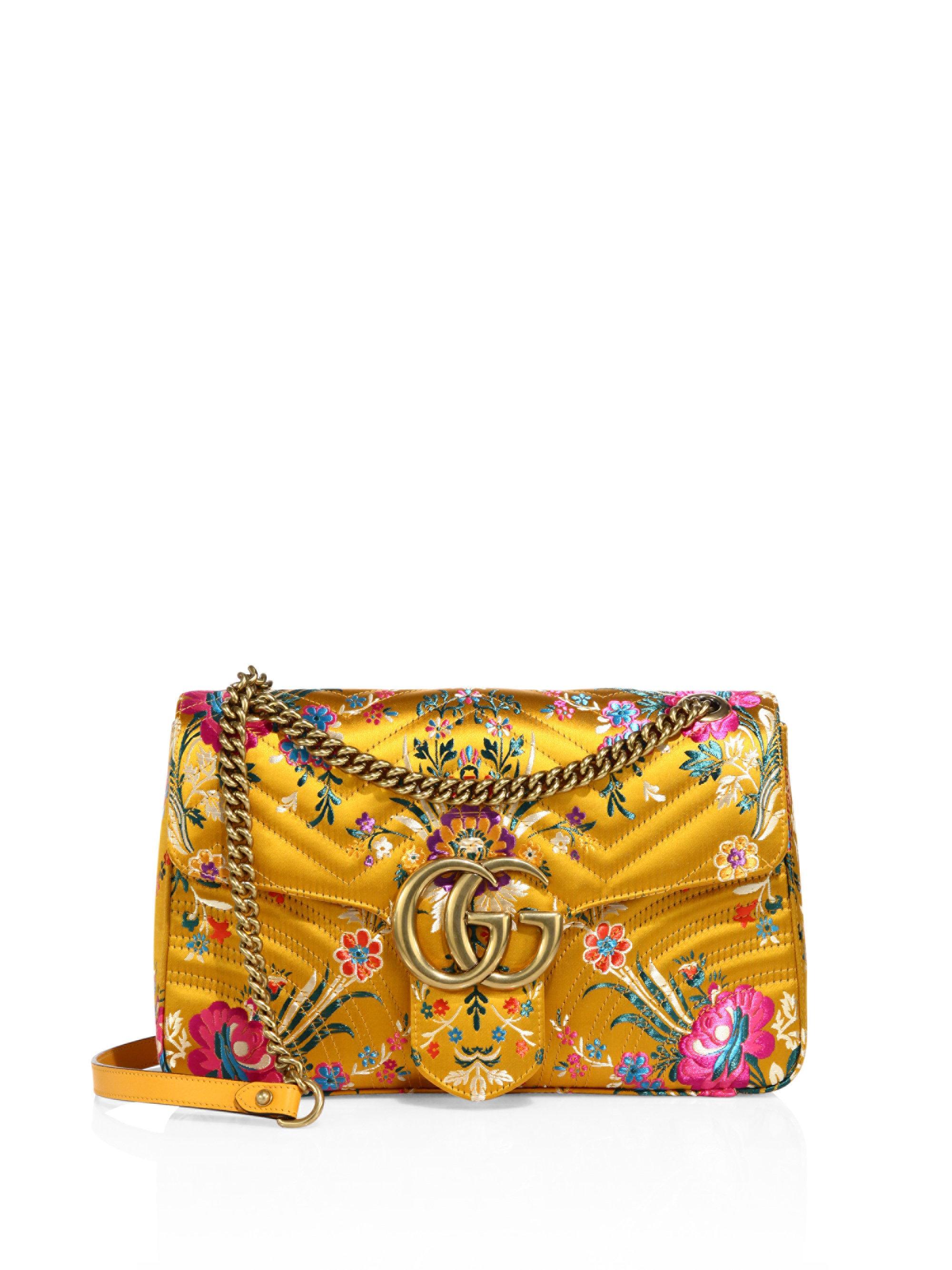 c49d44b25d51 Gucci Small Gg Marmont Matelasse Floral Jacquard Chain Shoulder Bag ...