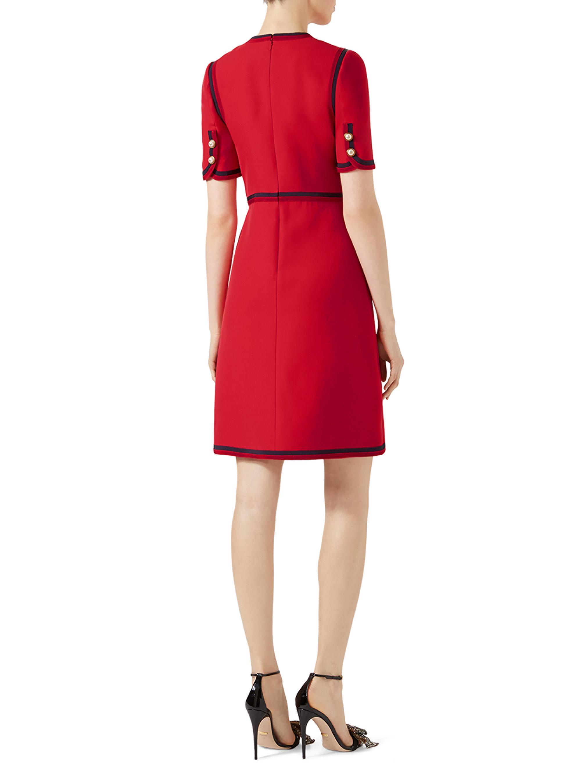 52cc5a0d2e8781 Gucci Cady Pearl Button Wool & Silk Dress in Red - Lyst