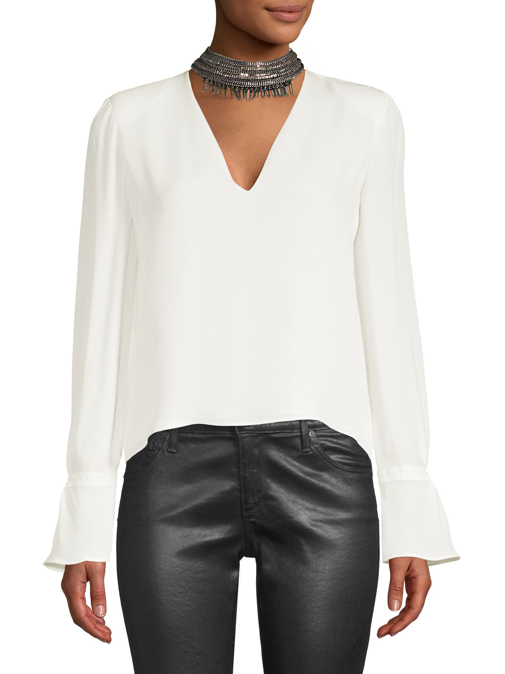 3db2cf6ca1857 Ramy Brook Annete Embellished Silk Bell-sleeve Top in White - Lyst