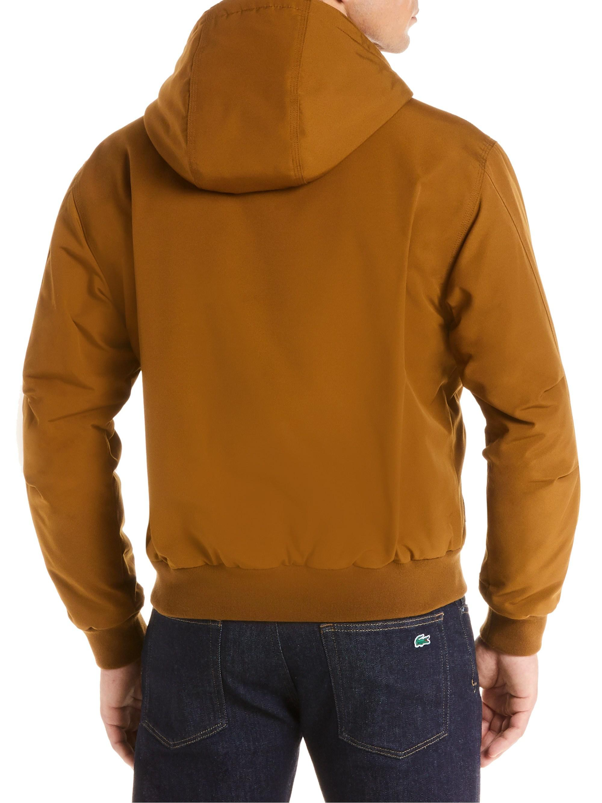 3ec8543cc1 Lacoste Quilted Twill Hooded Bomber Jacket in Brown for Men - Save ...