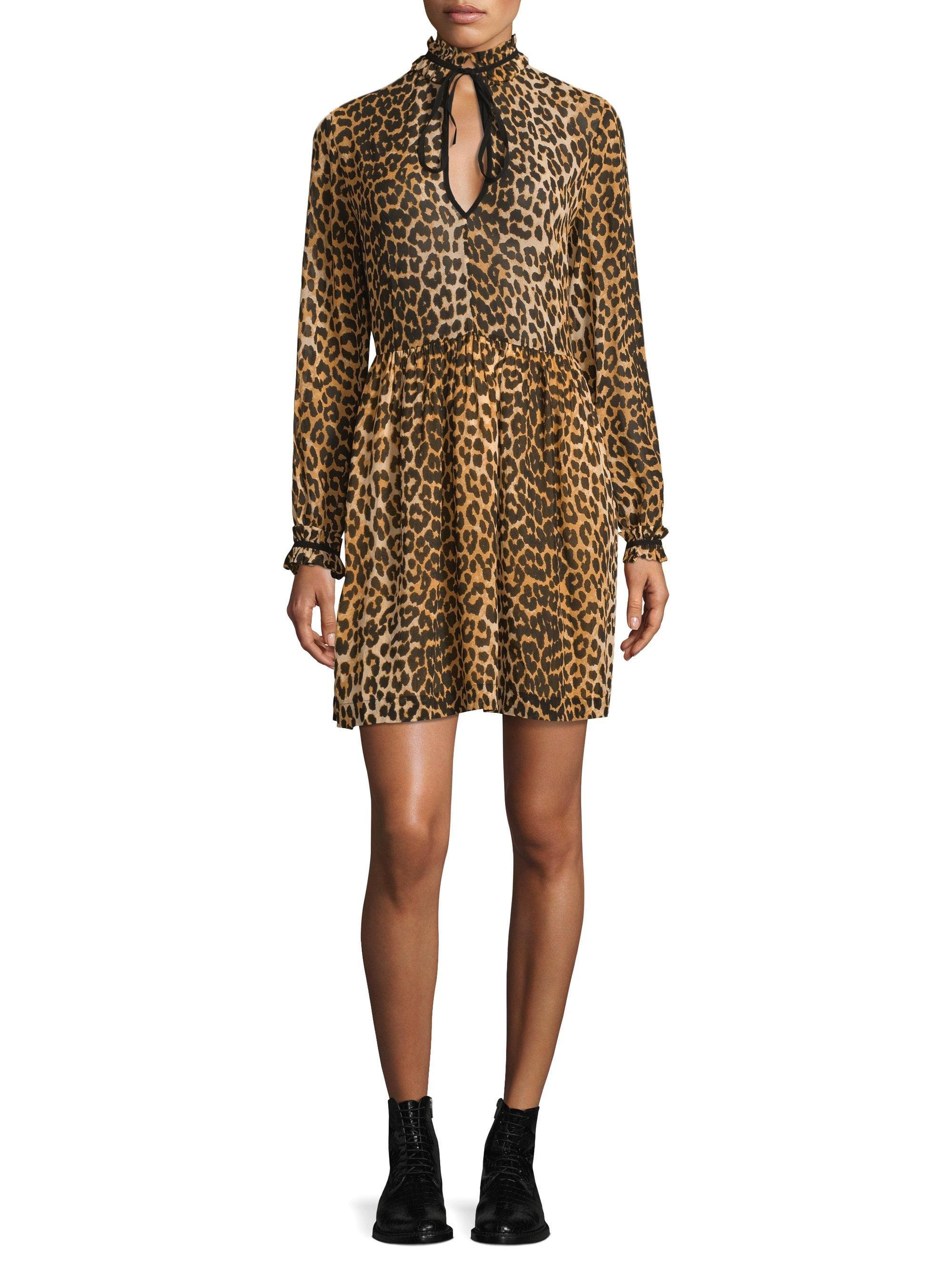 1322174d8ca Ganni Fairfax Georgette Leopard Dress - Lyst