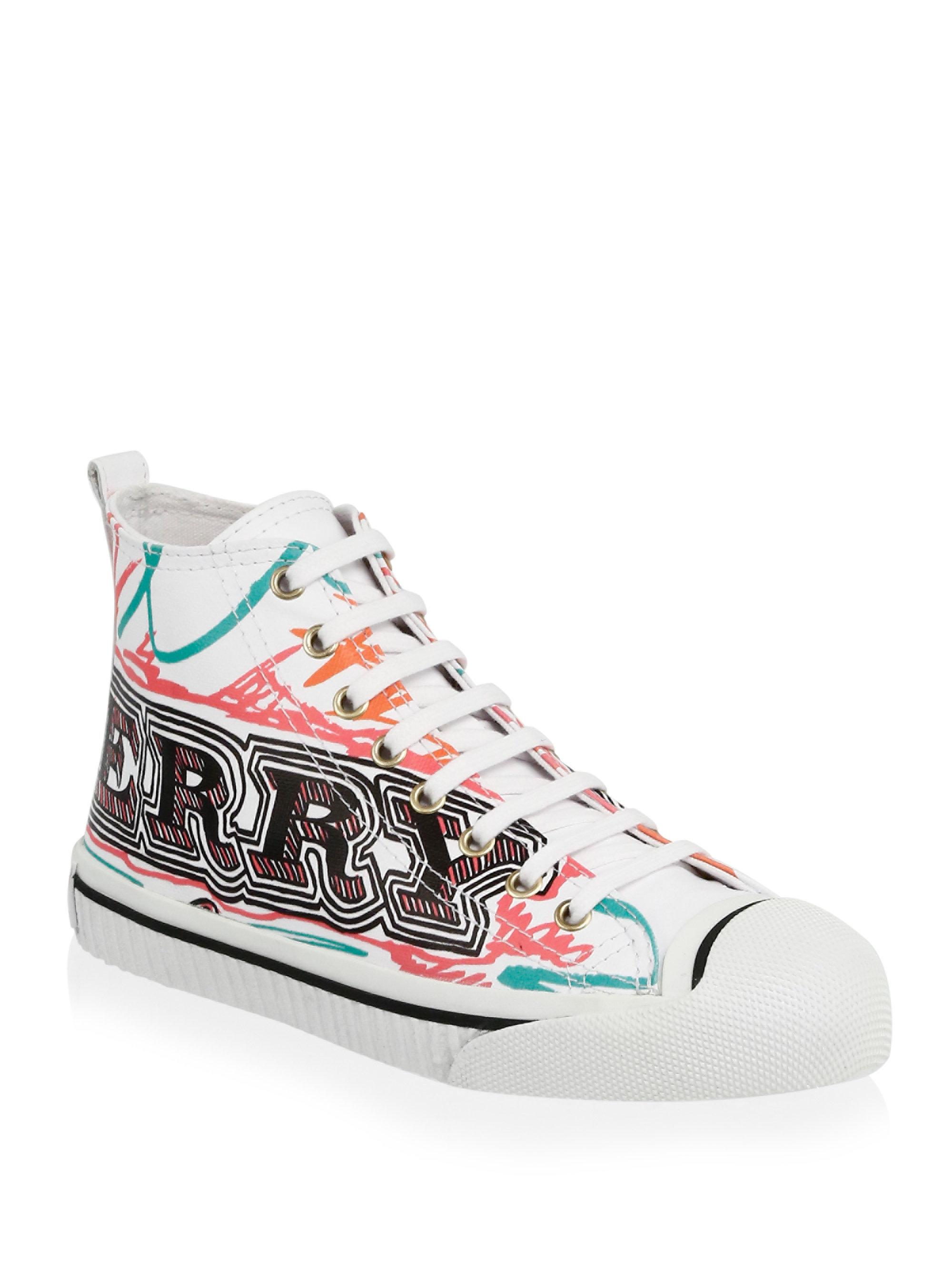 Lyst - Burberry Kingly Doodle Print High-top Sneaker in White 452cc05929a
