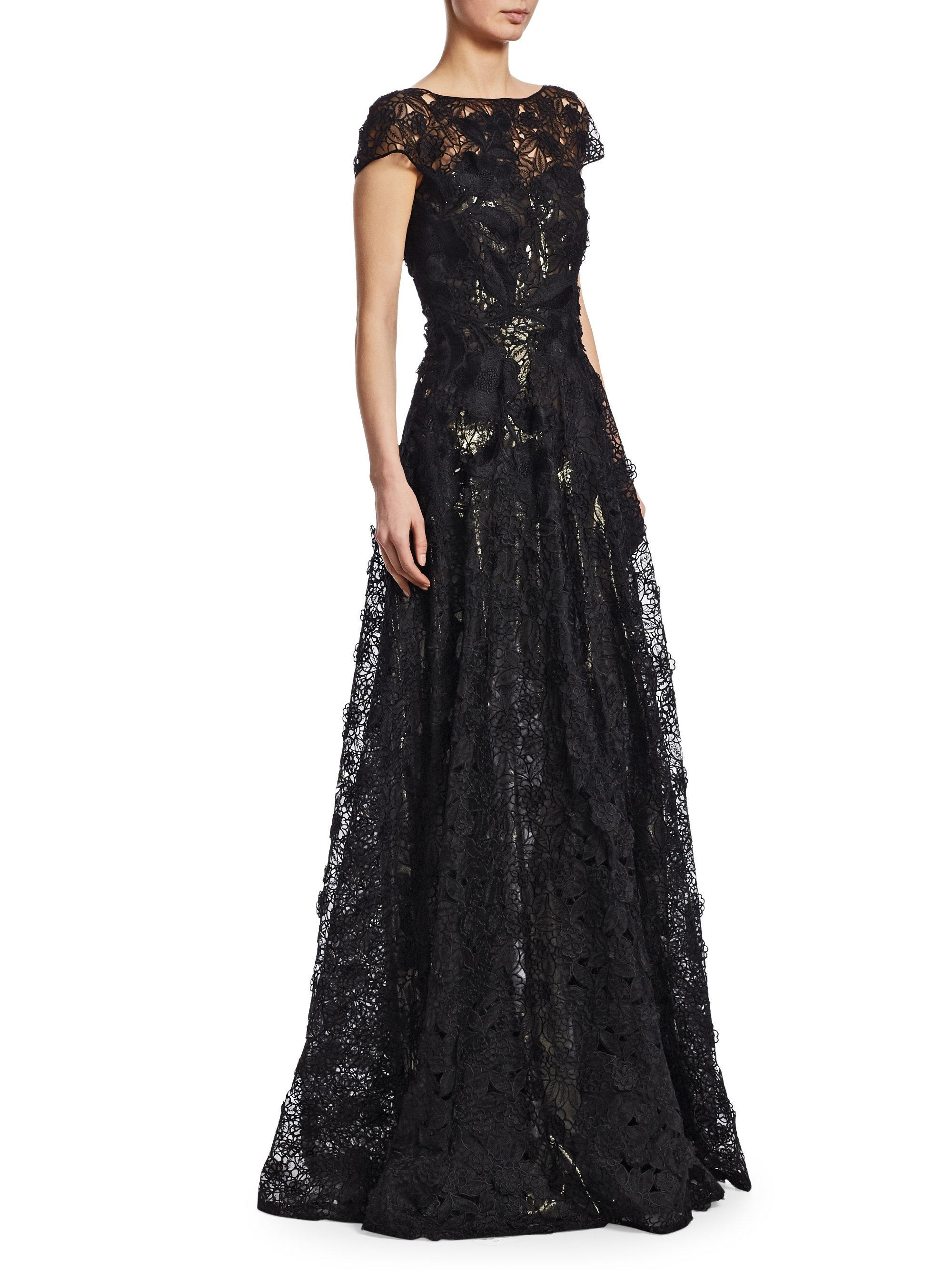 b3de48de83 Naeem Khan Illusion Embroidered Short-sleeve Gown in Black - Lyst