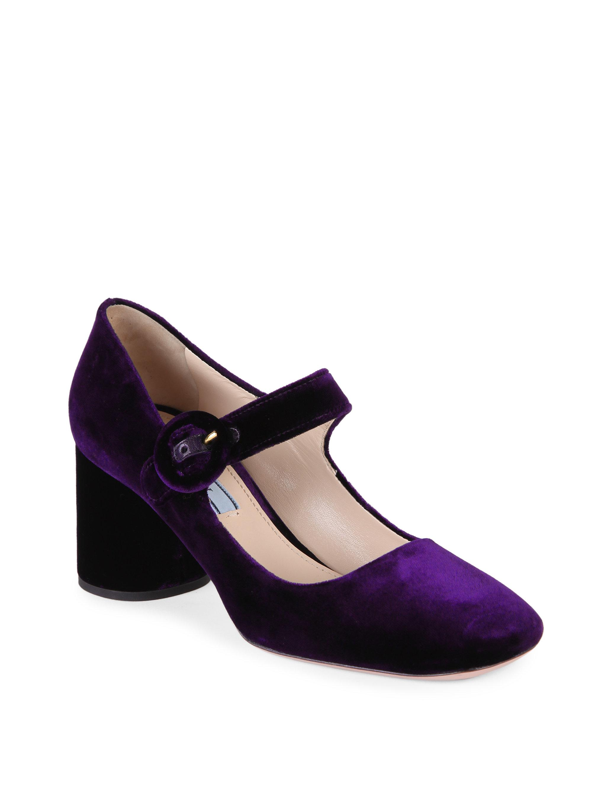 b4f75d209766 Lyst - Prada Velvet Mary Jane Block Heel Pumps in Purple