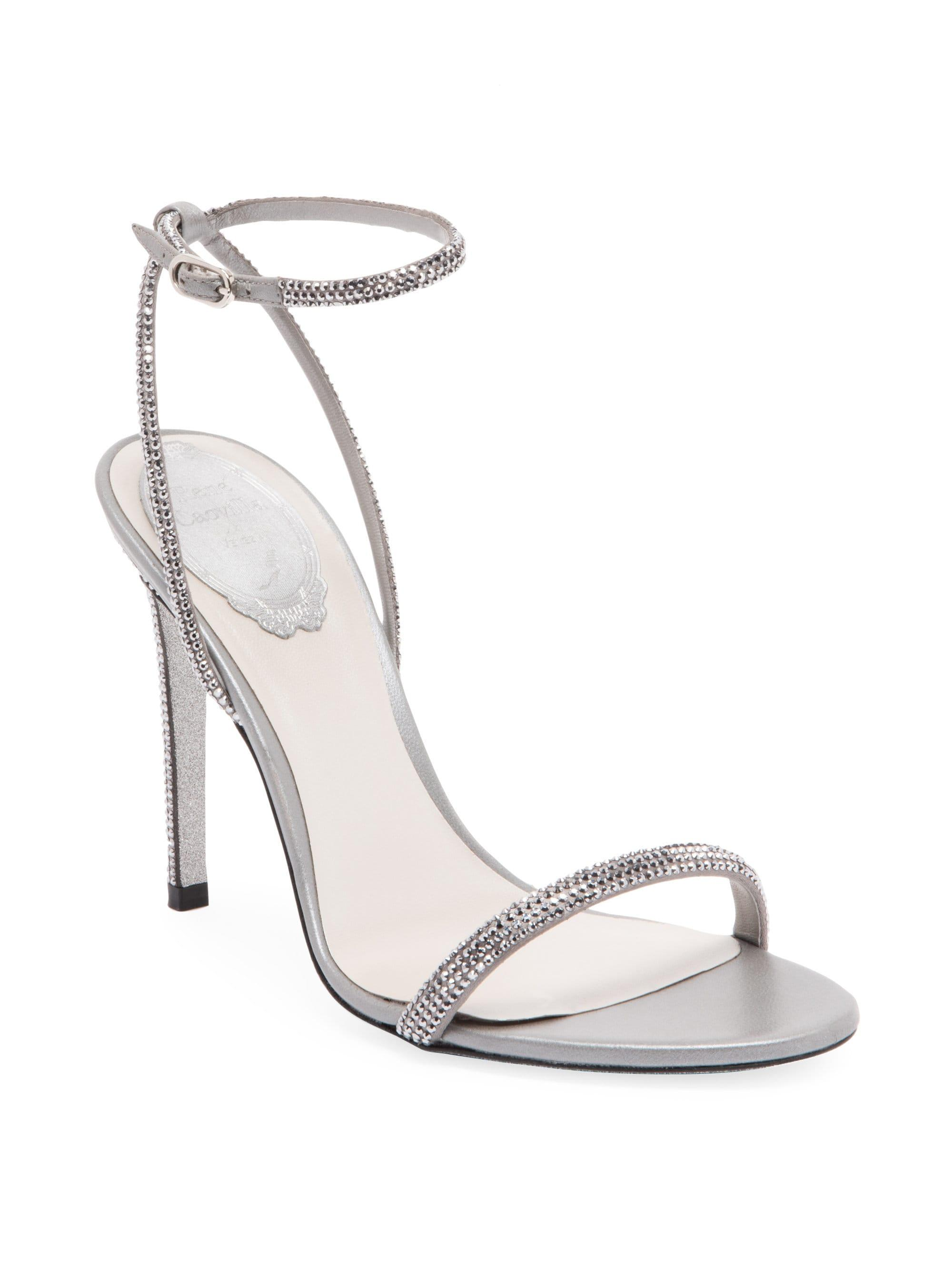 c8a3644d7 Lyst - Rene Caovilla Crystal Embellished Strappy Satin Stiletto ...