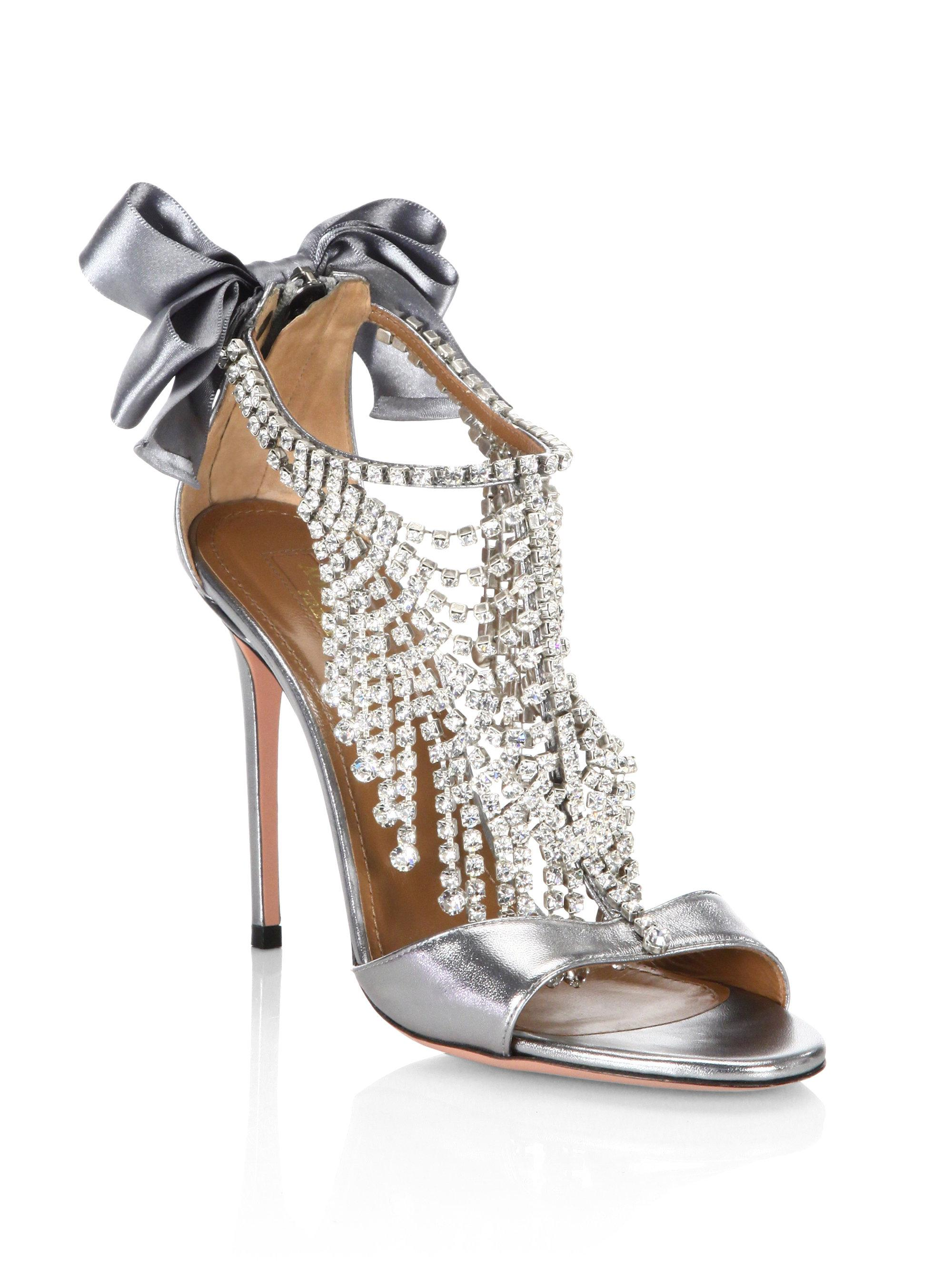 AquazzuraFifth Avenue Crystal & Metallic Leather Sandals NqkFJEGACd