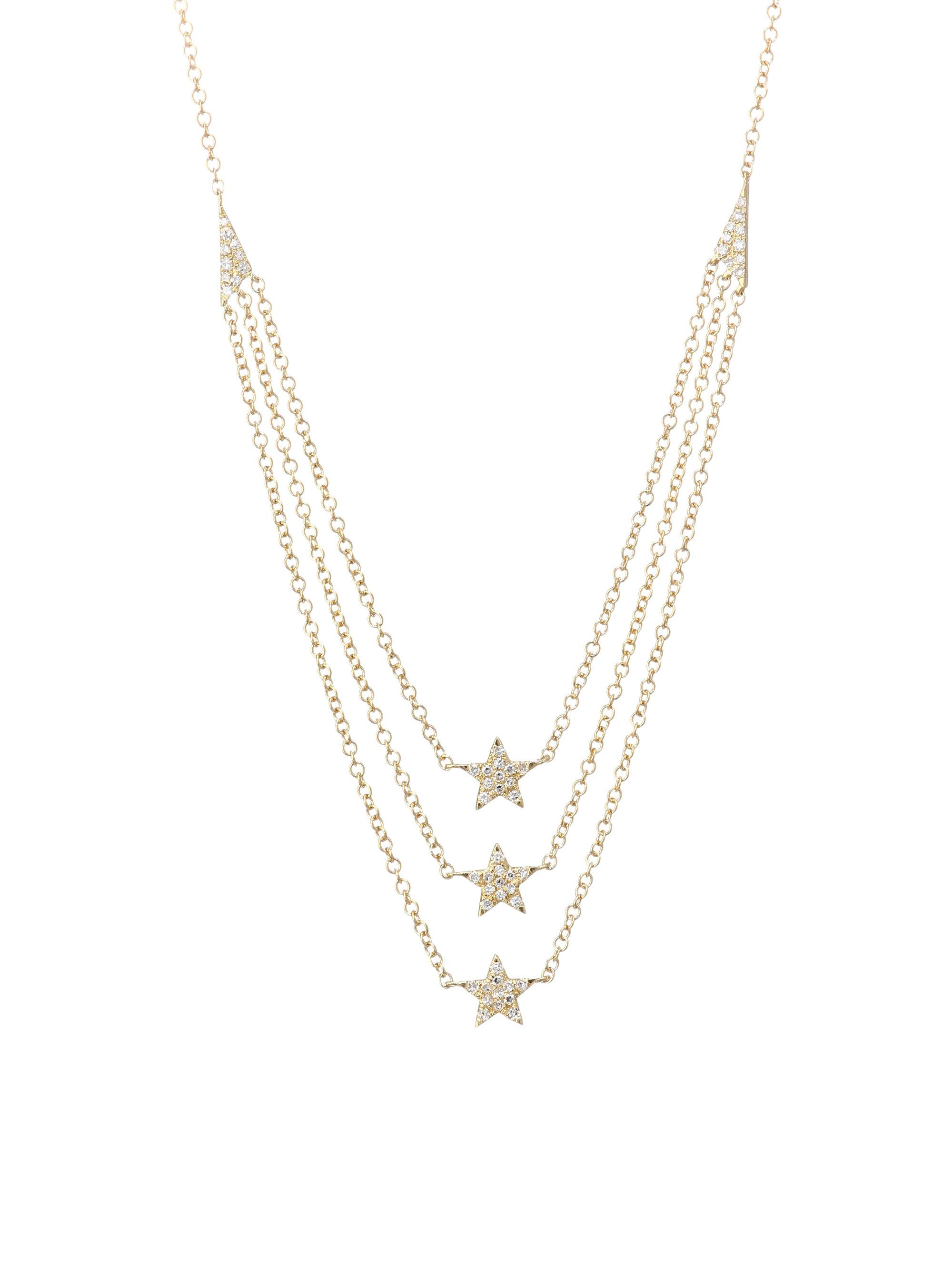 EF Collection Layered Diamond Star Charm Necklace in 14K Yellow Gold OUXhB