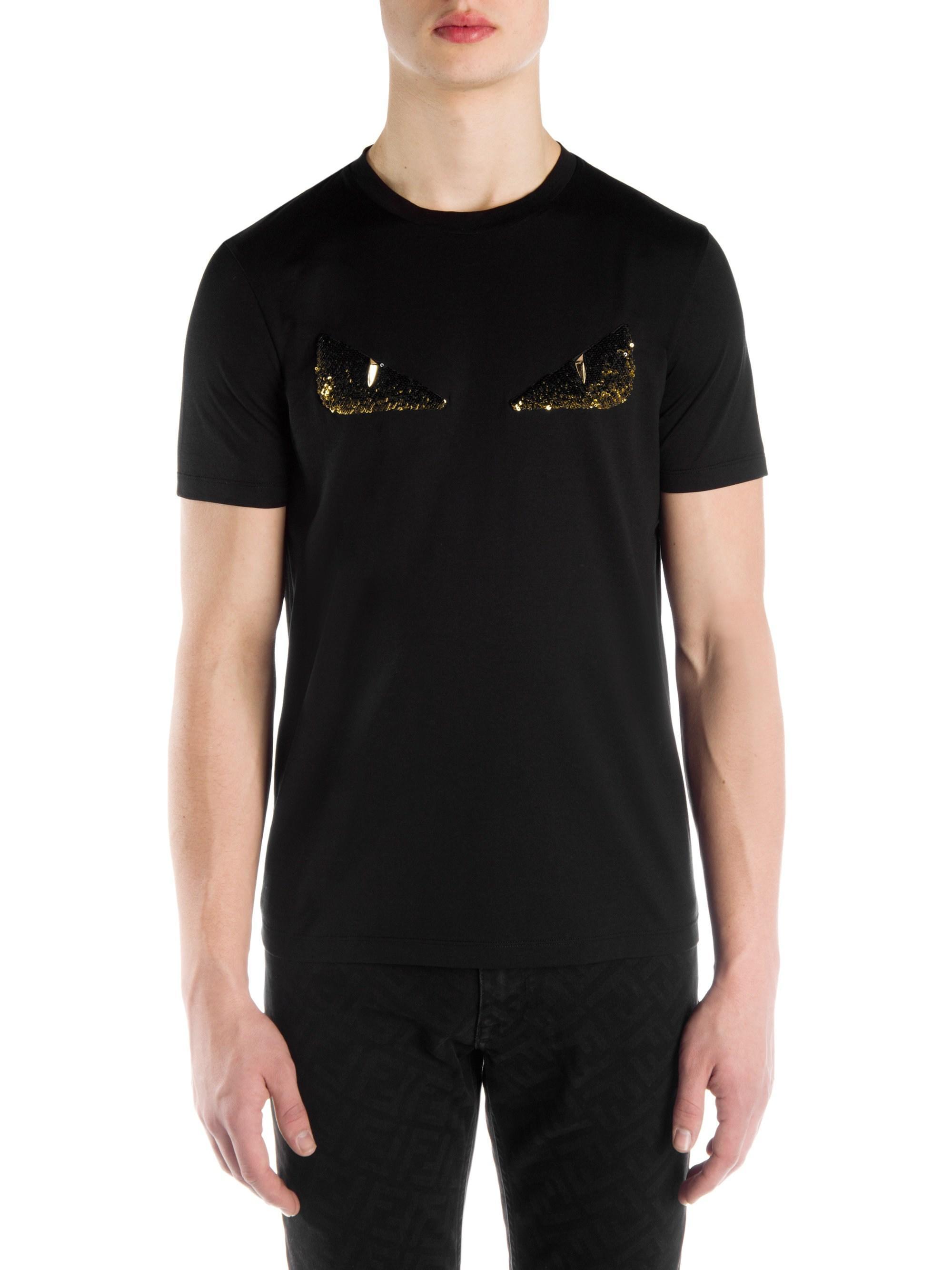 8388fa3a Fendi - Men's Embellished Eye Graphic T-shirt - Black for Men - Lyst. View  fullscreen