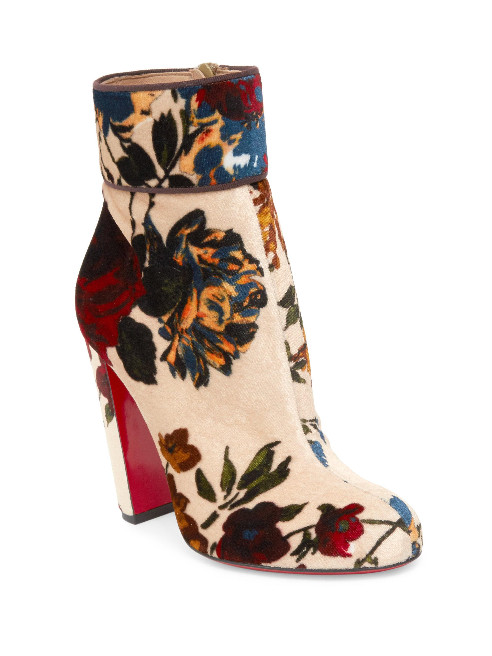 d3372b664f62 Christian Louboutin Moulamax 85 Bouquet-print Velvet Block Heel ...