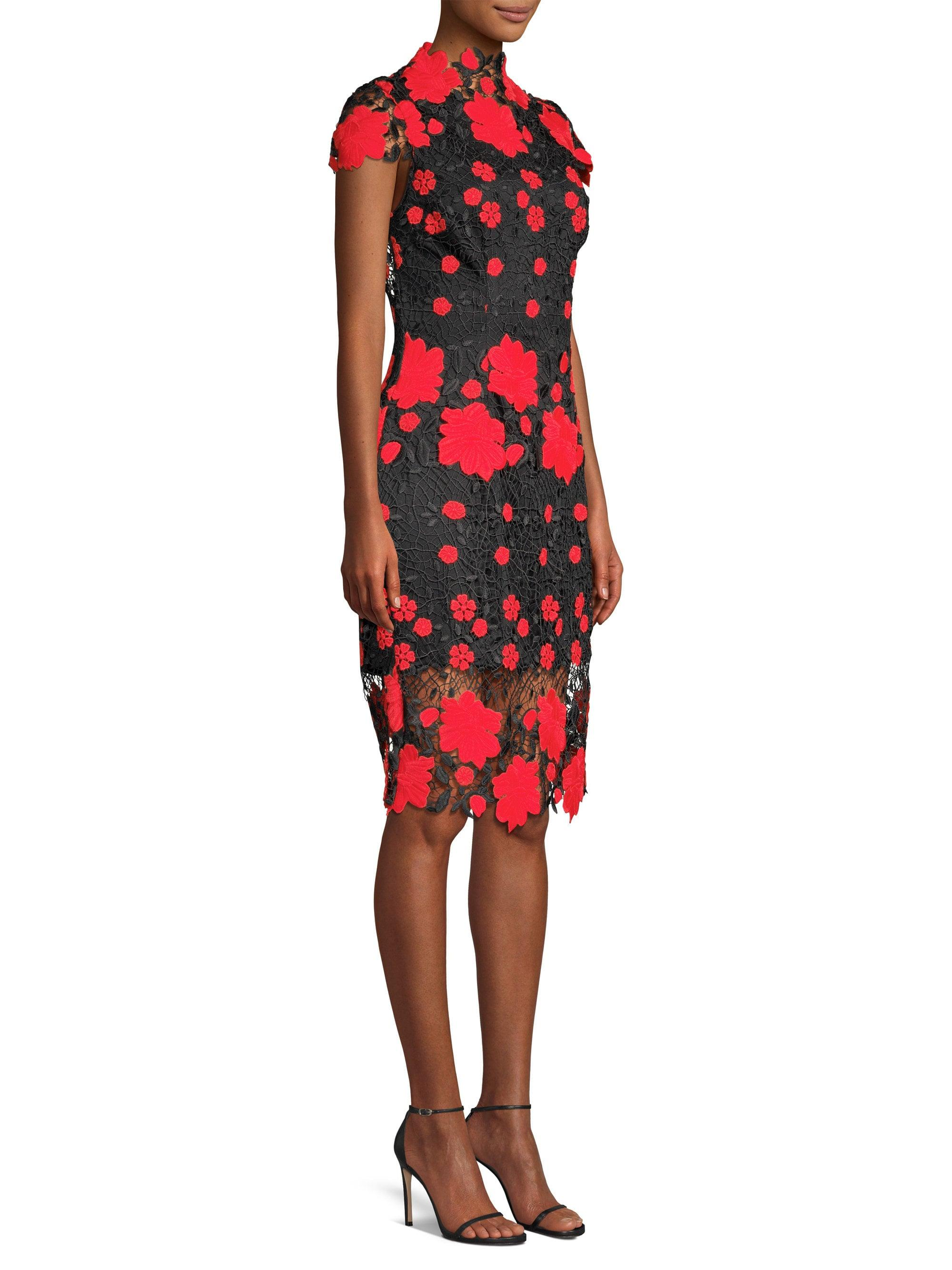 Lyst - Laundry by Shelli Segal Floral High-neck Sheath Dress in Red 9ed6b02c79