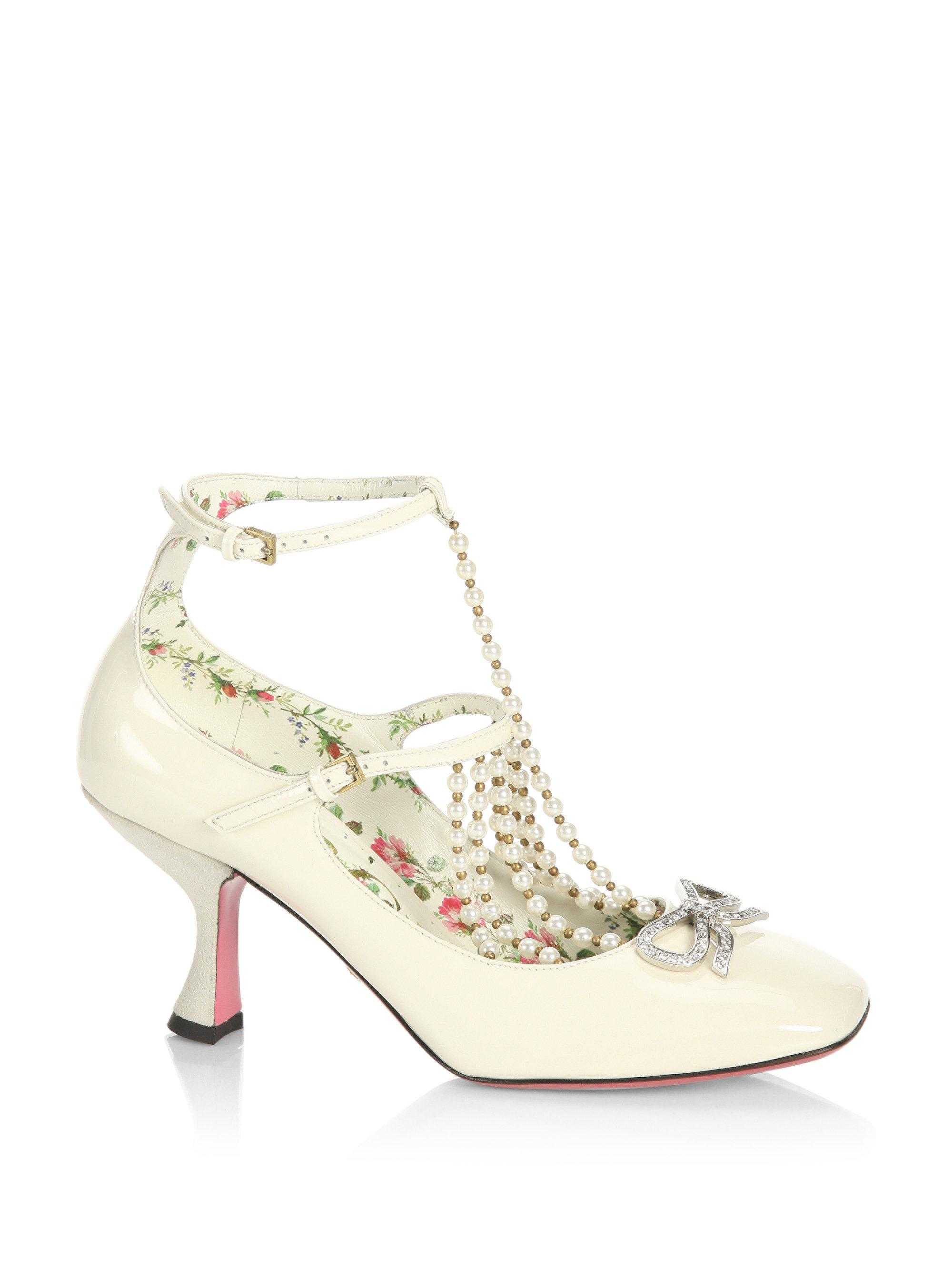 426e53f54a Gucci Taide Pearl-embellished Patent Leather Mary Jane Pumps in ...