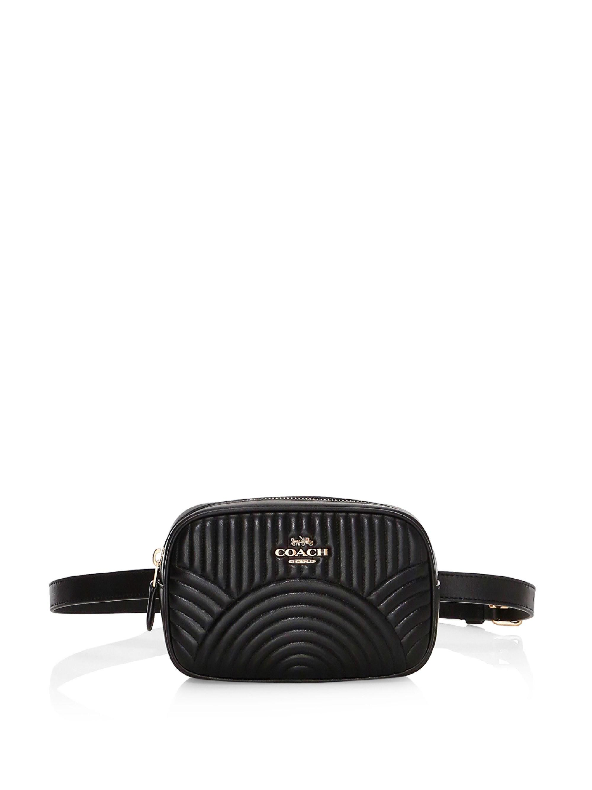 43724d7f3a764 COACH Deco Quilted Dorsay Leather Belt Bag in Black - Lyst