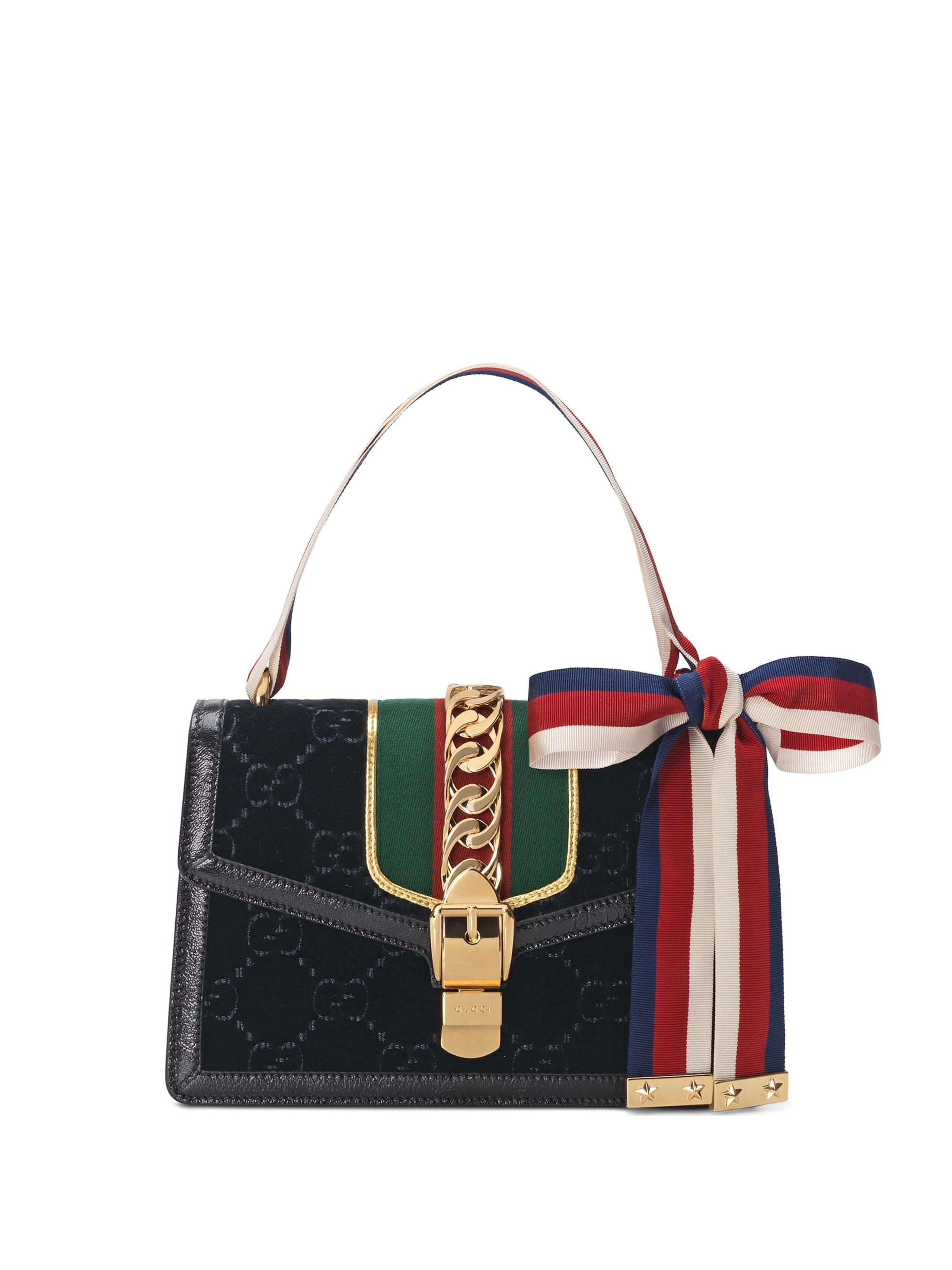 c8f345c342b9 Gucci - Women's Sylvie GG Velvet Small Shoulder Bag - Black - Lyst. View  fullscreen