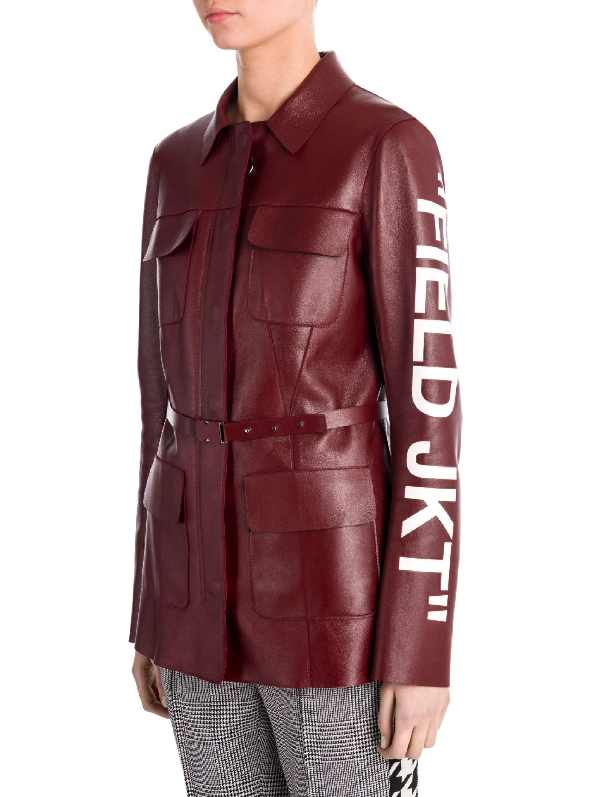 Lyst - Off-White c o Virgil Abloh Leather Field Jacket in Red 60bea0e68