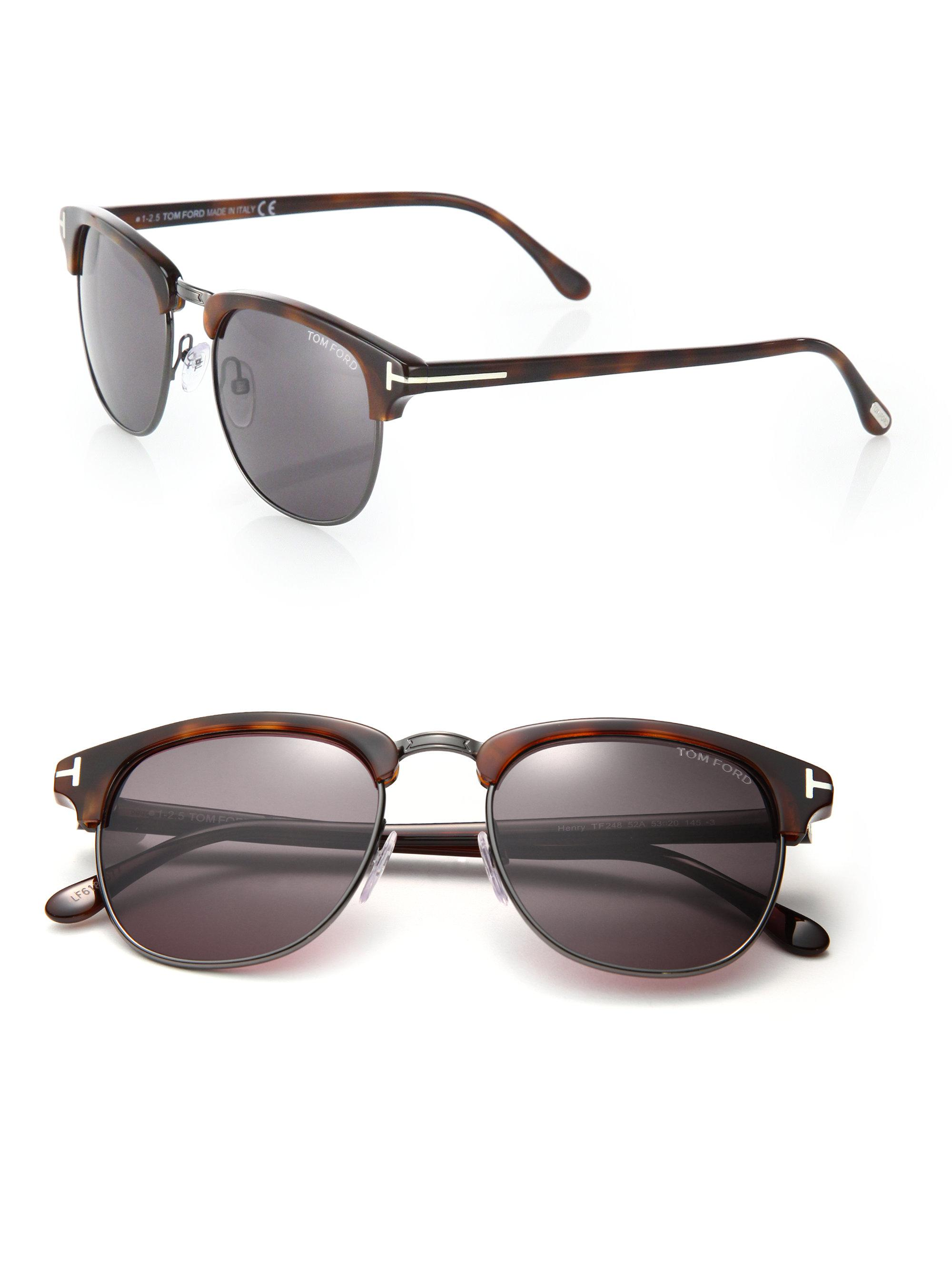 f6464a65cb82 Tom Ford Henry 53mm Round Sunglasses in Brown for Men - Lyst