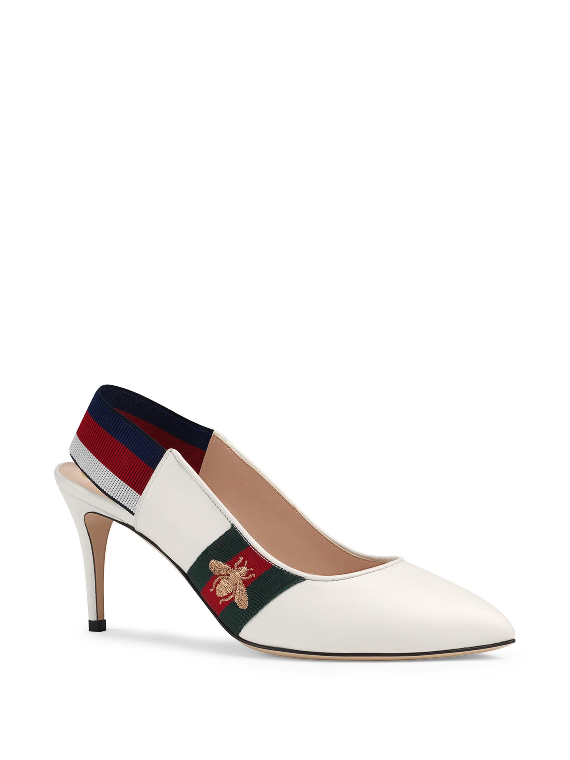 14b4cd2ef Gucci Leather Web Mid-heel Slingback Pumps in White - Save 12% - Lyst