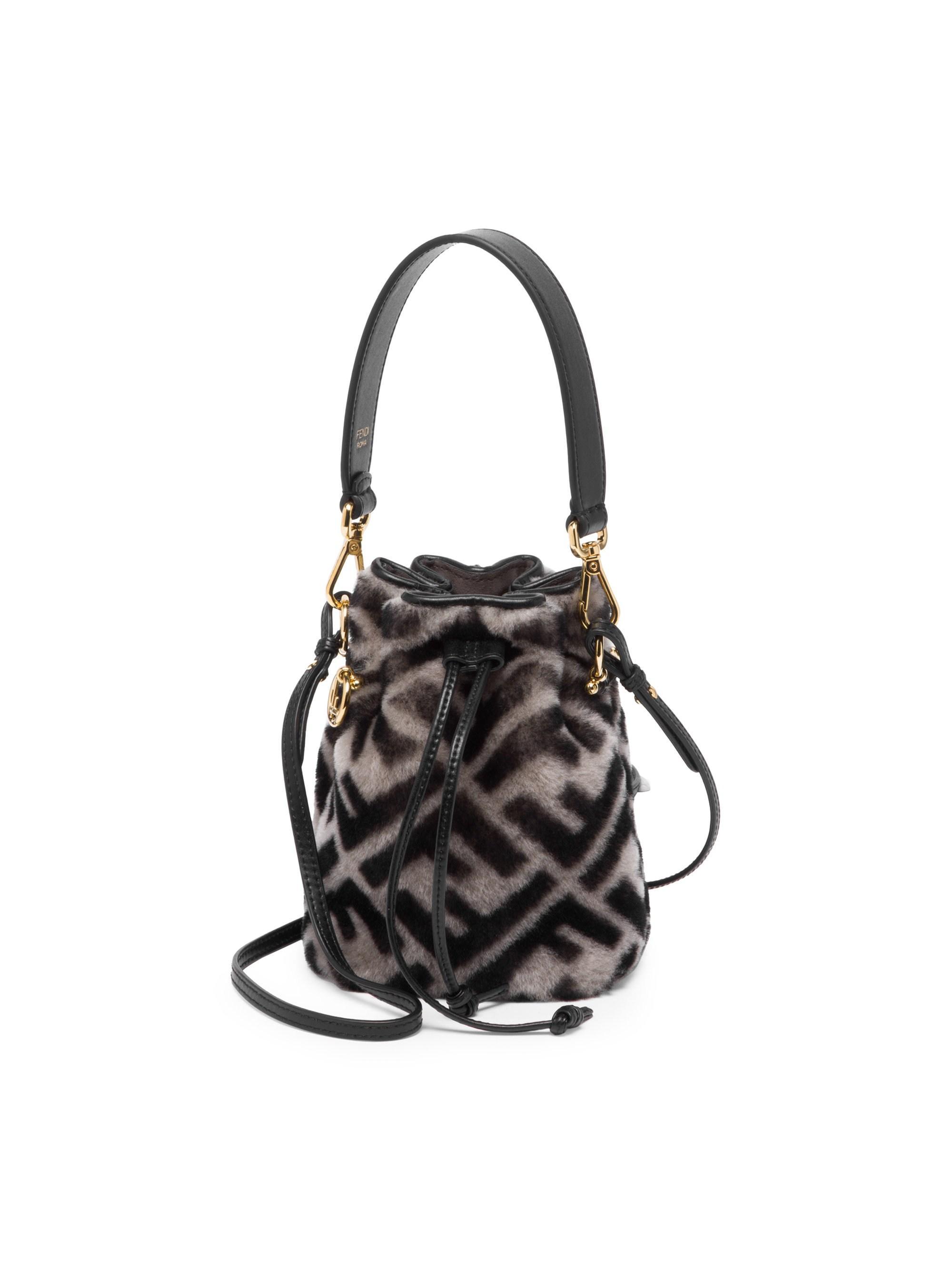Fendi Mini Mon Tresor Shearling Bucket Bag in Black - Lyst 8c856313de784