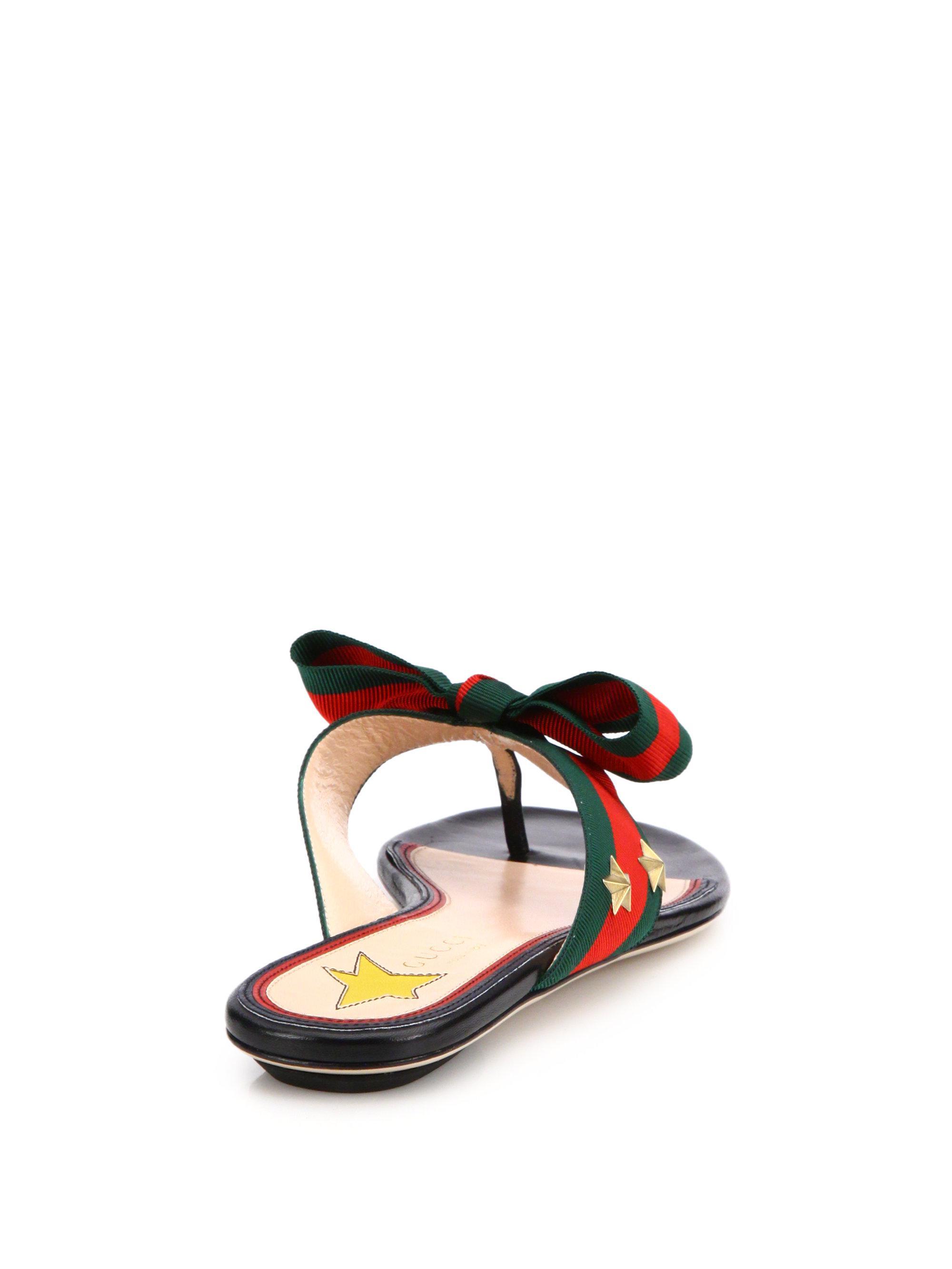 8943d0fb040 Lyst - Gucci Aline Grosgrain Web Thong Sandals in Black