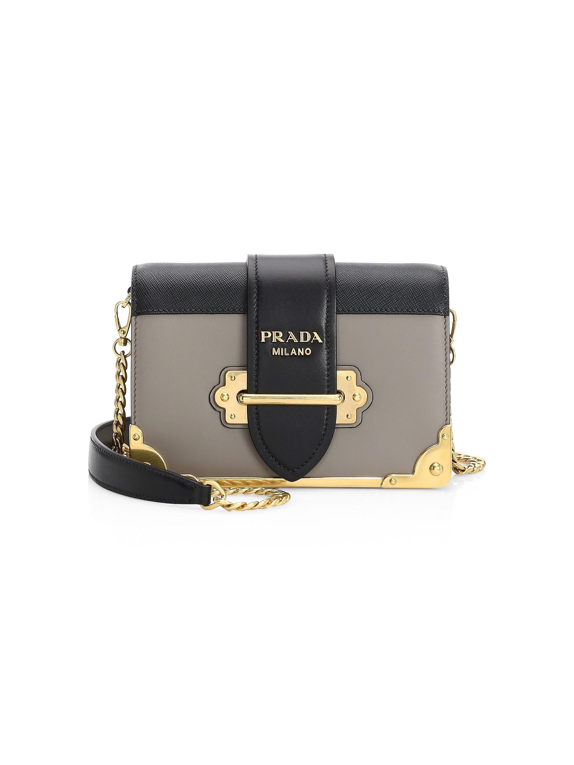 07f1f230d190 Lyst - Prada Women s Small Cahier Leather Crossbody Bag - Mughetto ...