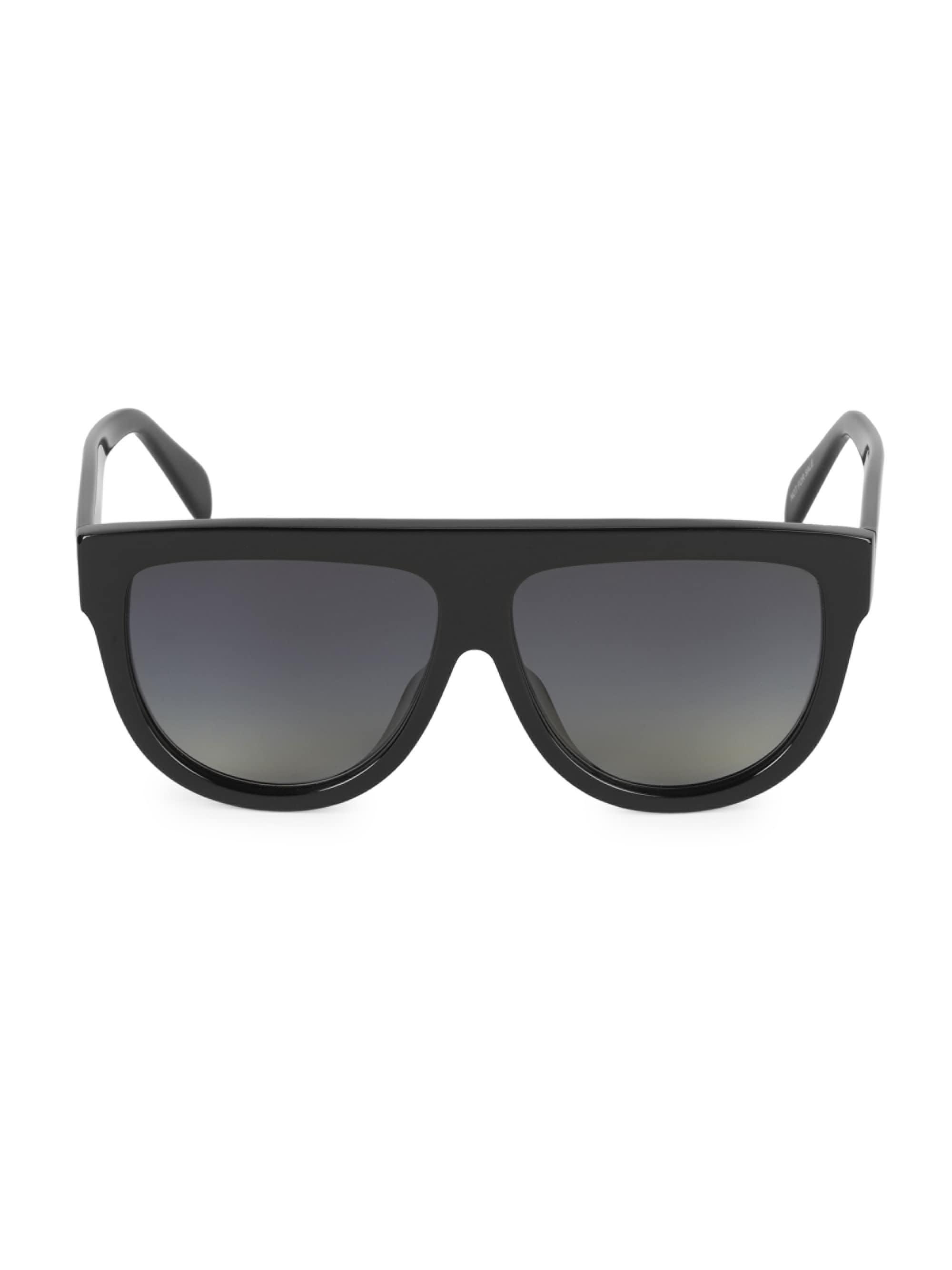 f2056c20346 Lyst - Céline Men s 58mm Flat Top Pilot Sunglasses - Black in Black ...