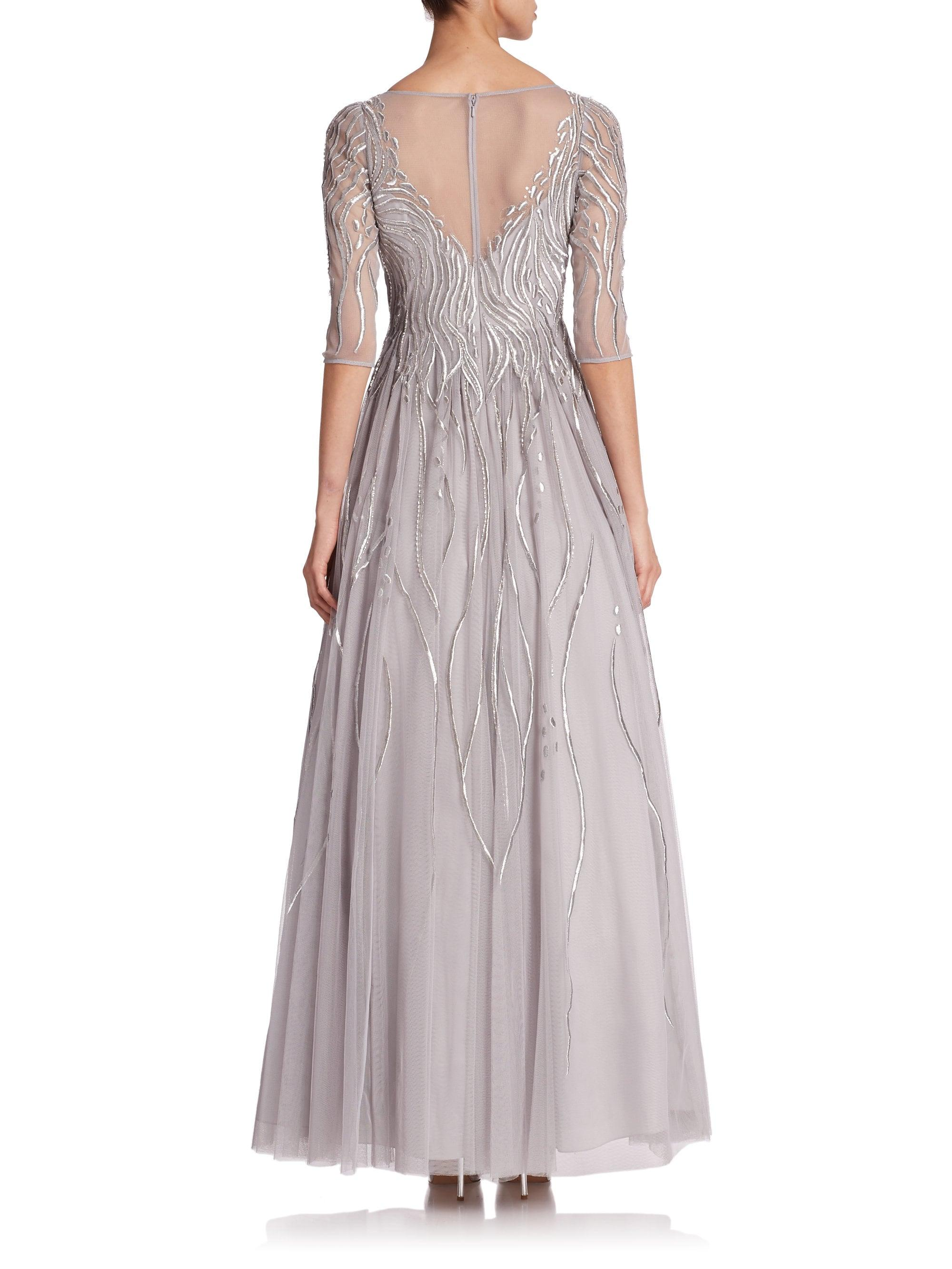 410ab05fb5d Lyst - Basix Black Label Embroidered Illusion Gown in Gray