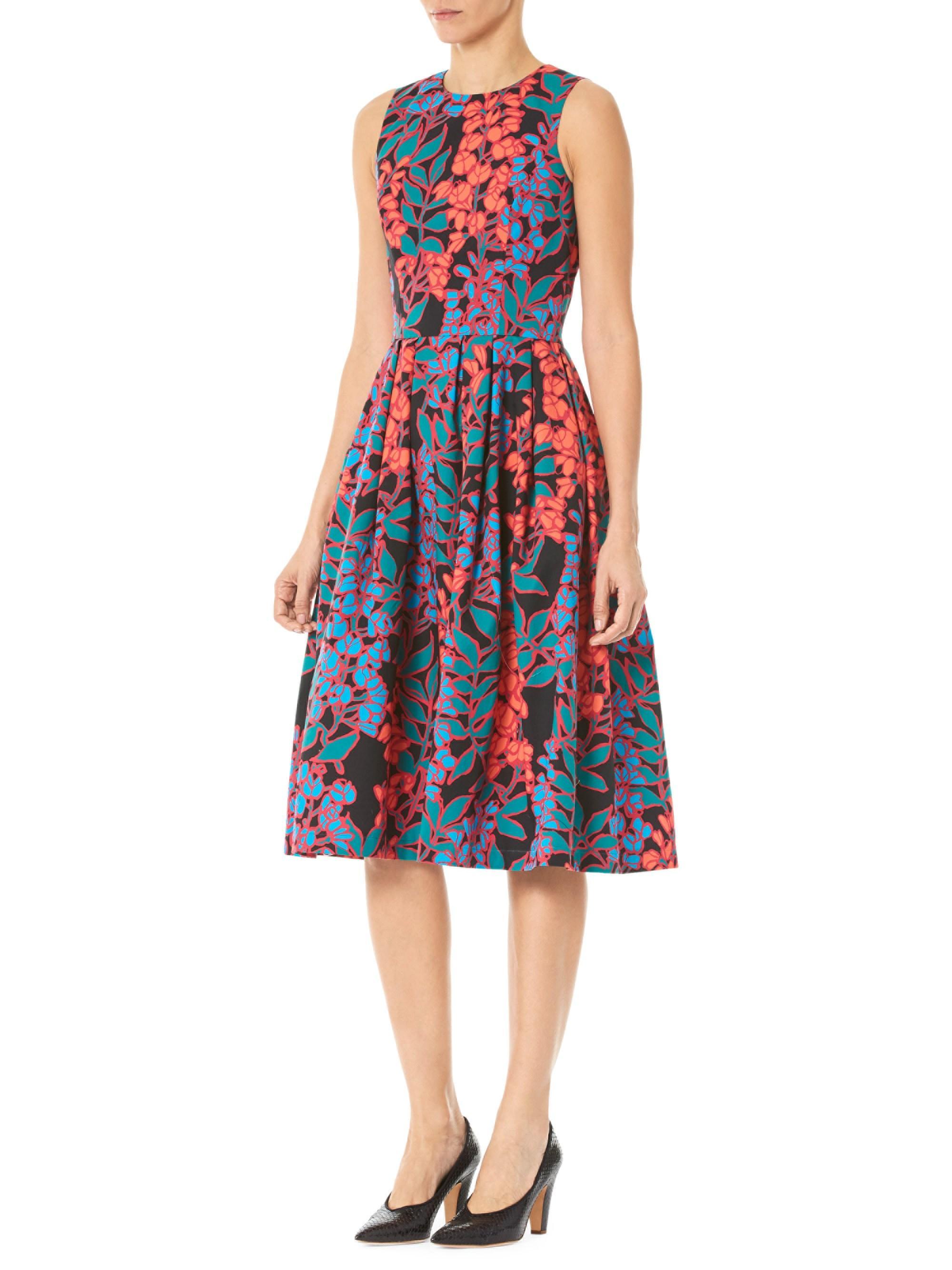 b016acdf54842 Carolina Herrera Women's Sleeveless Floral Tea Dress - Black Multi ...