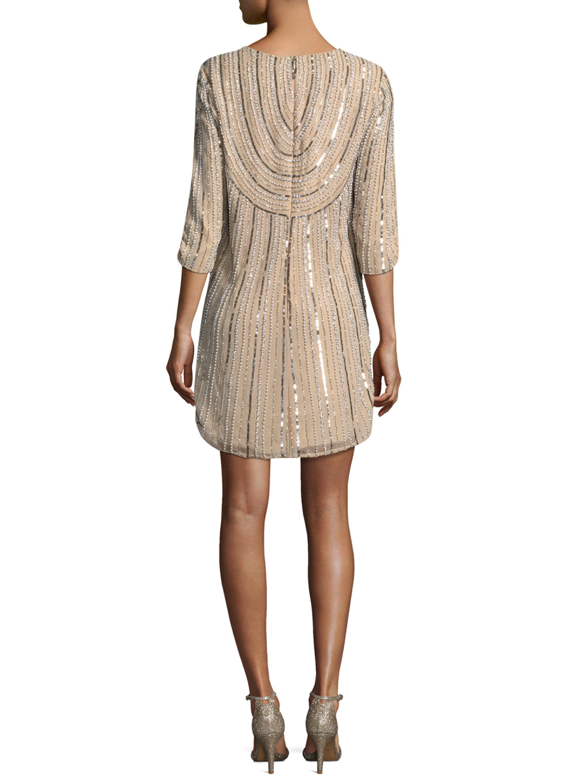 Lyst parker black petra sheath dress in natural for Saks fifth avenue wedding guest dresses