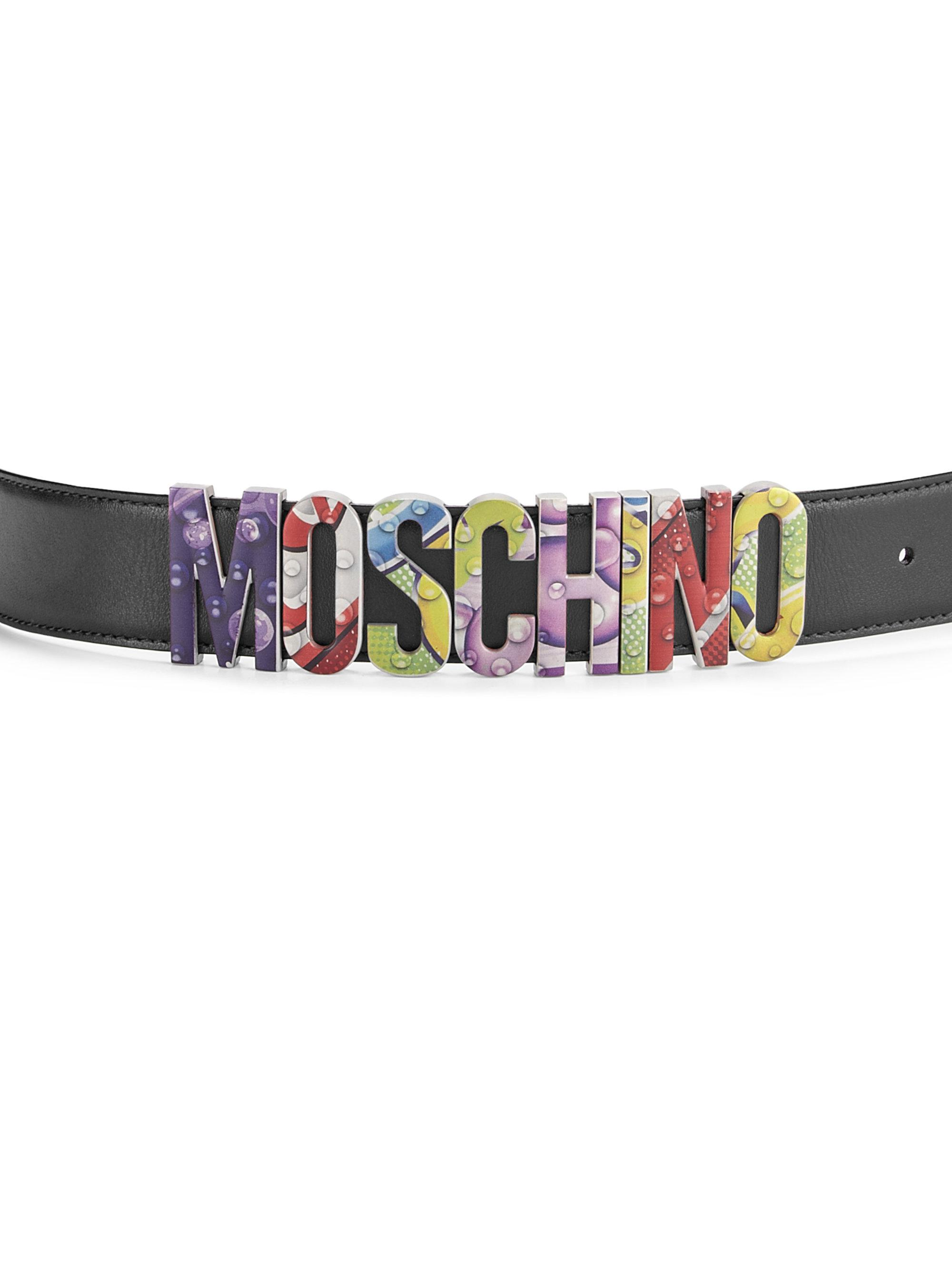 ae594270900 Moschino New London Side Logo Leather Belt in Black for Men - Lyst