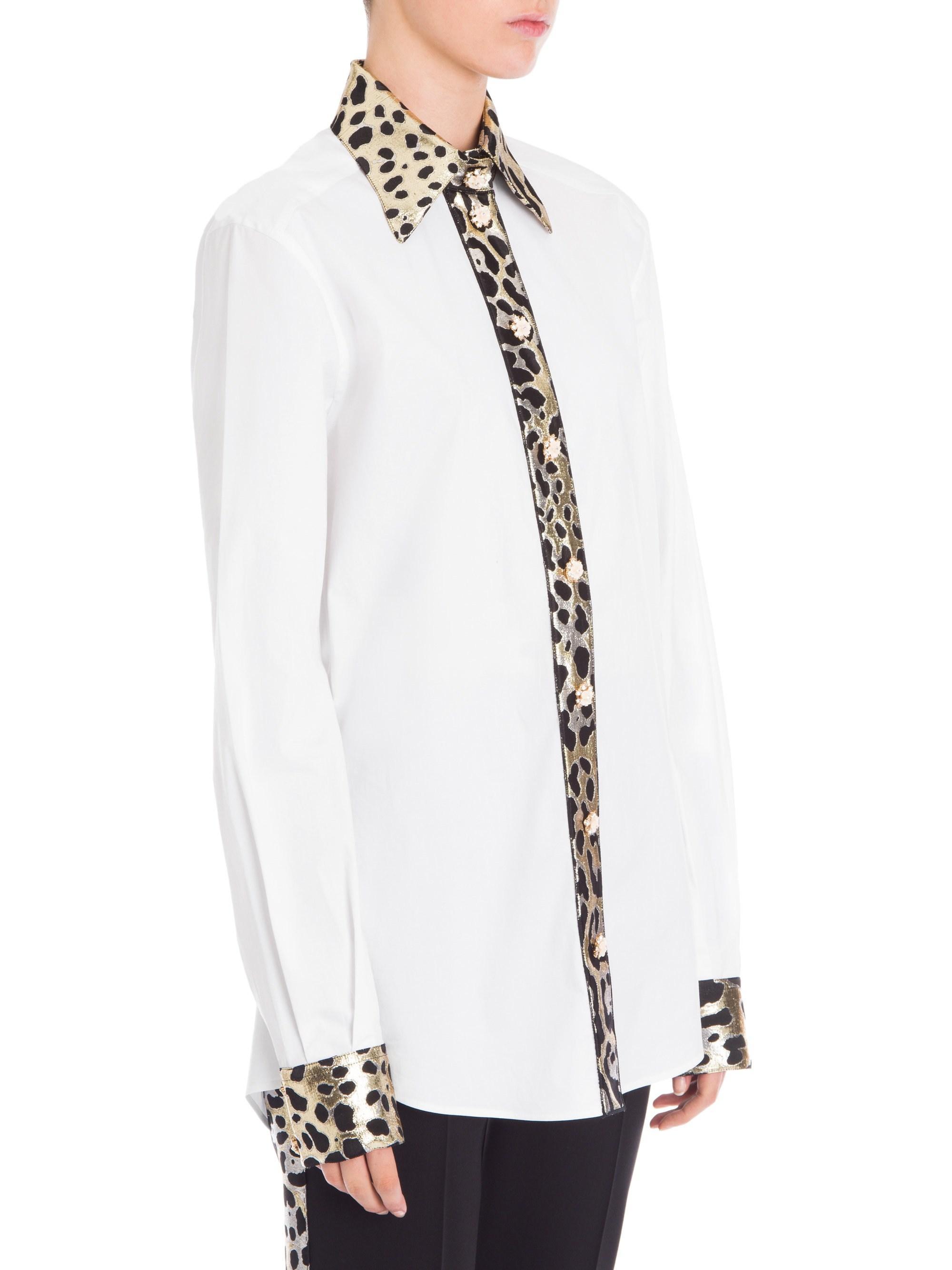433e5ca18a8 Lyst - Dolce   Gabbana Women s Leopard Print Trimmed Button-front ...