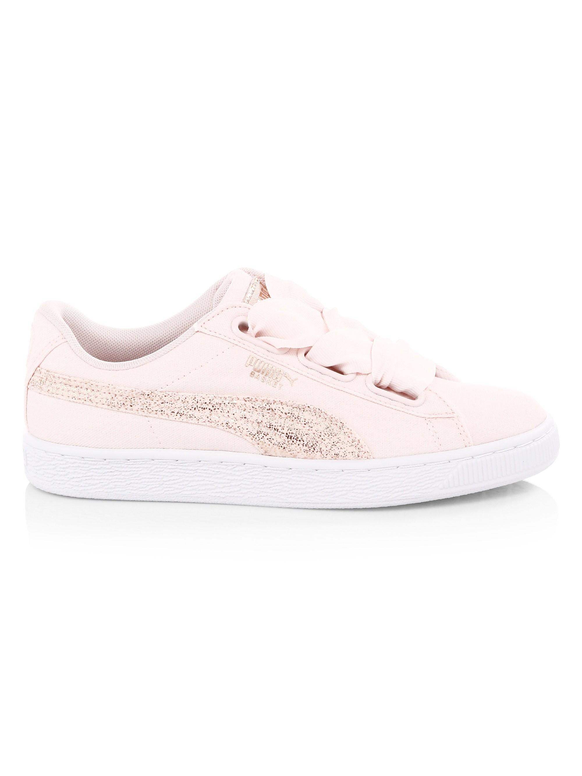 save off 052de 8fc48 Lyst - PUMA Basket Heart Canvas Low-top Sneakers in Pink