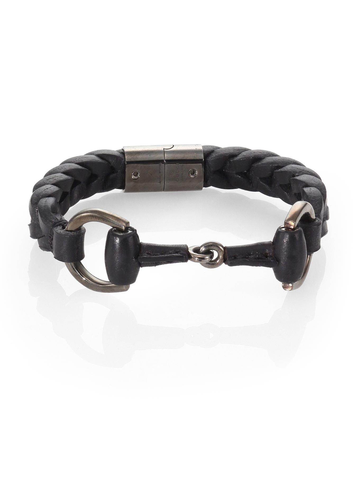 927bbdb96 Gucci Braided Leather & Sterling Silver Horse Bit Bracelet in Black ...